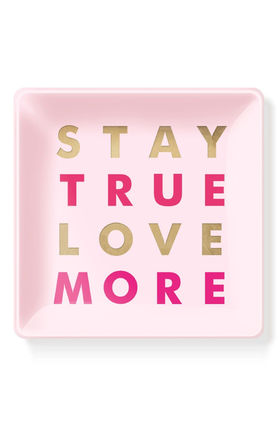 'Stay True Love More' Glass Trinket Tray,                         Main,                         color, Pink