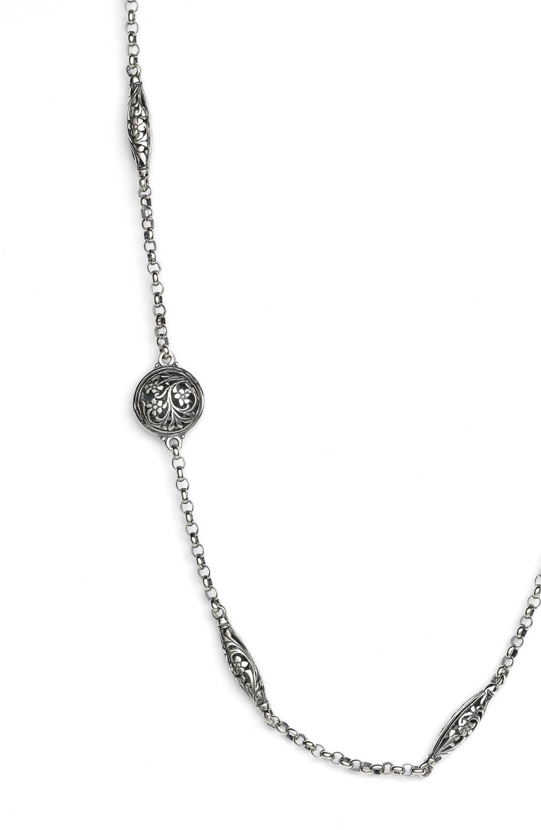 'Silver Classics' Long Filigree Station Necklace,                             Alternate thumbnail 2, color,                             Silver