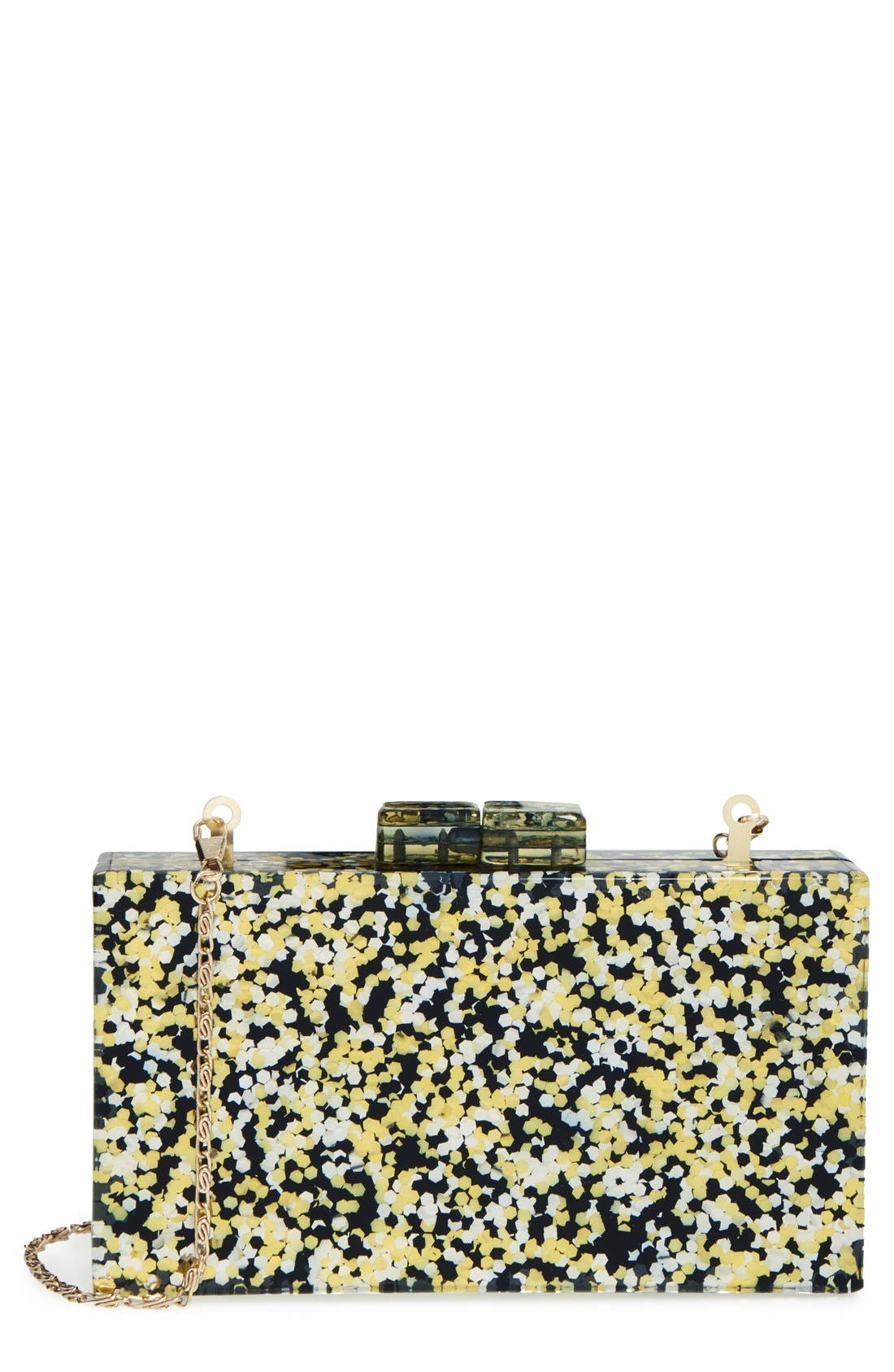 Couture Box Clutch,                         Main,                         color, Black/ Gold