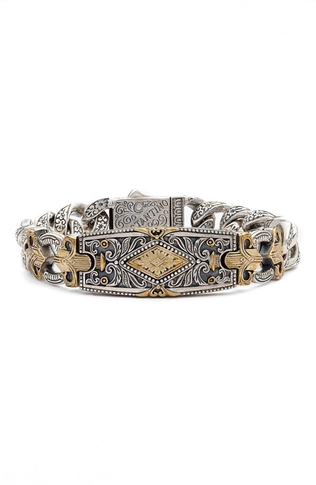 Myrmidones Fleur de Lis Bracelet,                         Main,                         color, Sterling Silver/ Bronze