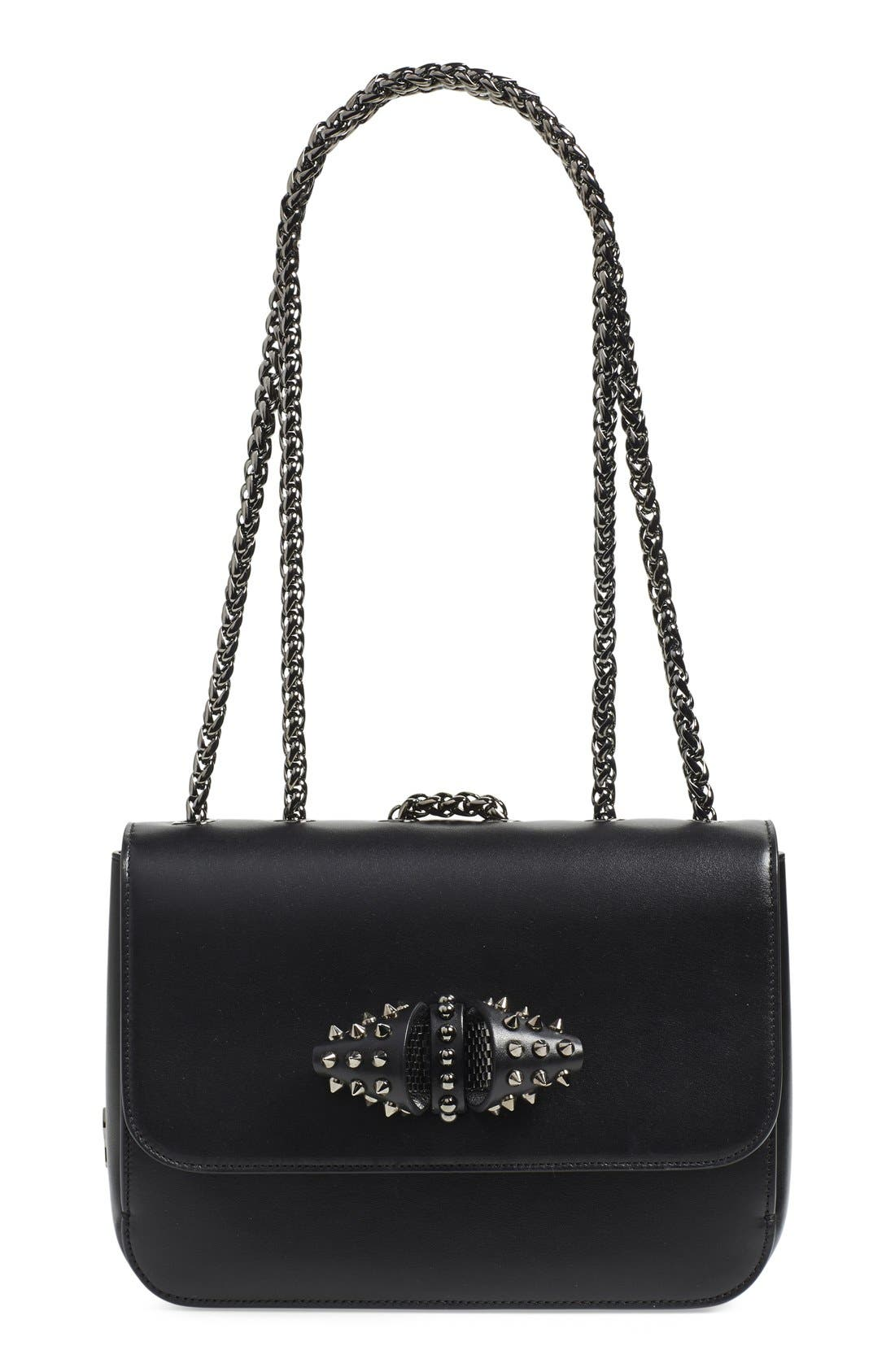 Main Image - Christian Louboutin 'Small Sweet Charity' Spiked Bow Flap Shoulder Bag