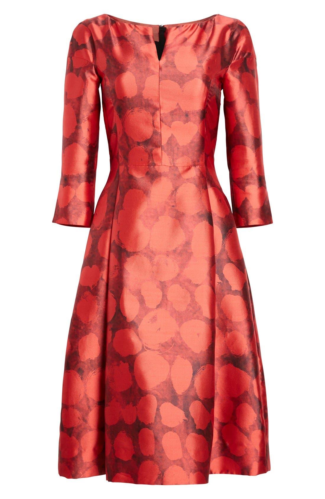 Alternate Image 4  - Oscar de la Renta Dot Print Silk & Cotton Dress