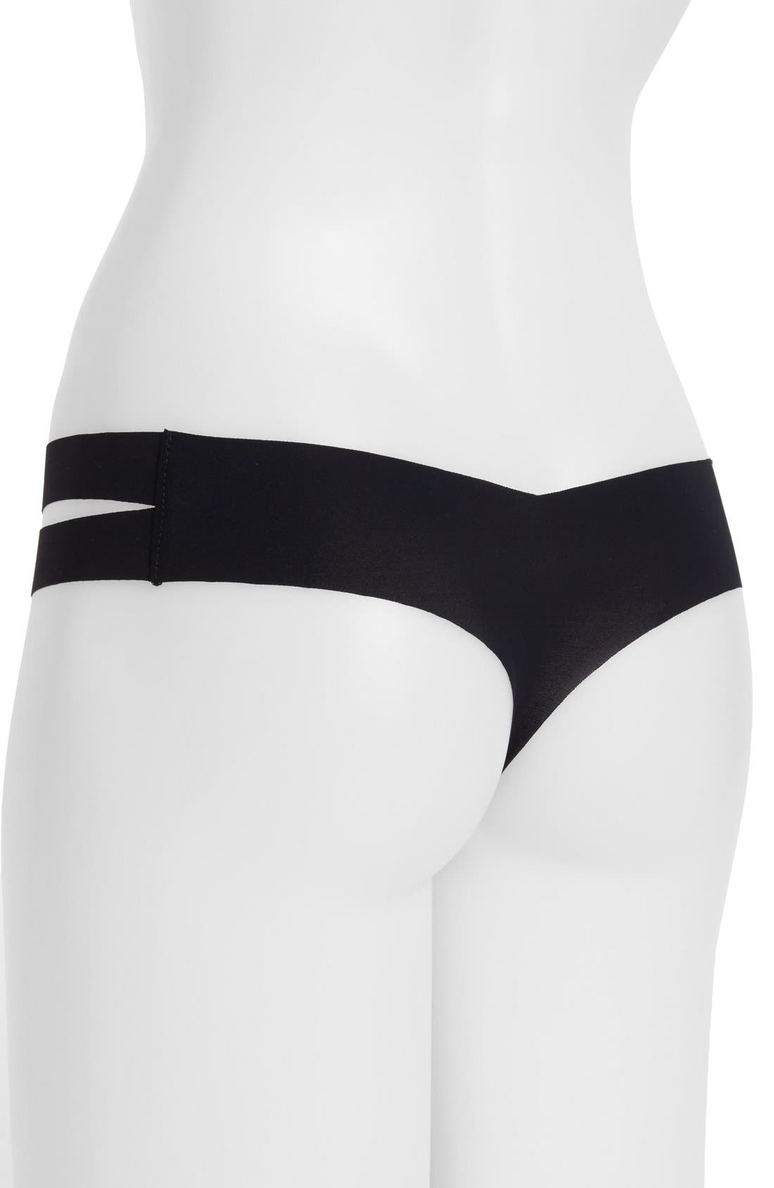 Strappy Sides Thong,                             Alternate thumbnail 2, color,                             Black