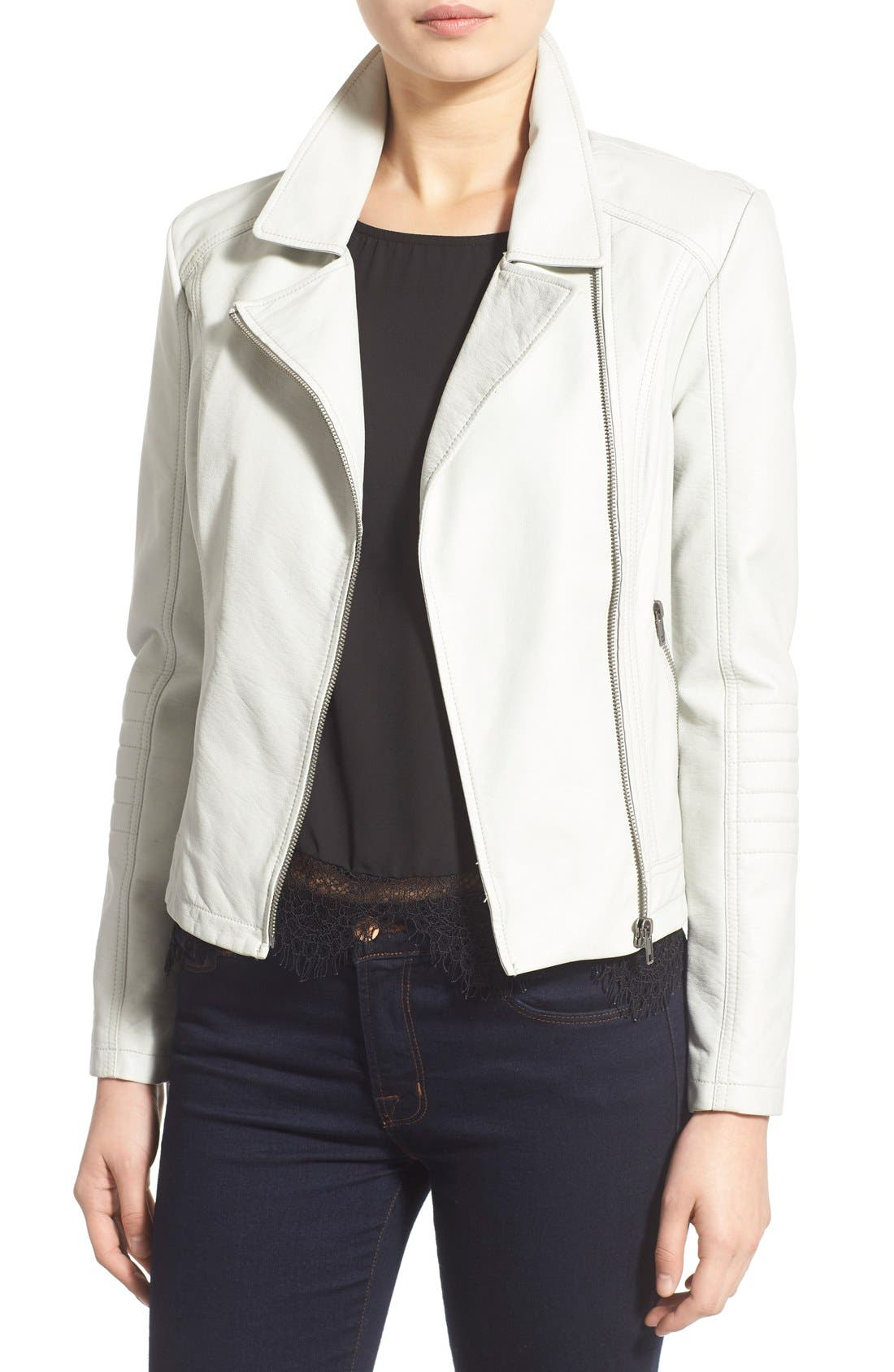 Alternate Image 1 Selected - cupcakes and cashmere 'Sid' Faux Leather Moto Jacket (Nordstrom Exclusive)