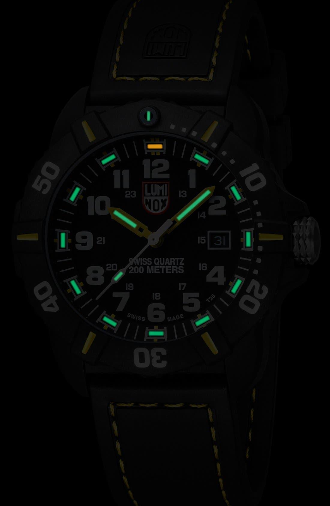 'Coronado' Rubber Strap Watch, 44mm,                             Alternate thumbnail 3, color,                             Black/ Yellow