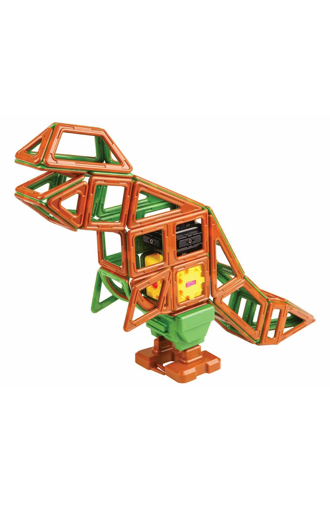 'Walking Dinosaur' Wind-Up Toy Magnetic Construction Set,                             Alternate thumbnail 2, color,                             Green/ Brown