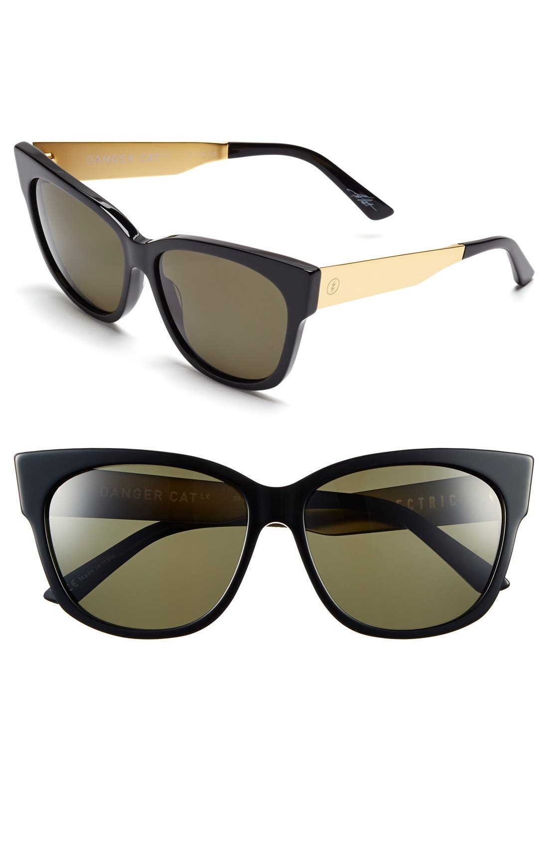 'Danger Cat LX' 59mm Cat Eye Sunglasses,                         Main,                         color, Gloss Black/ Grey