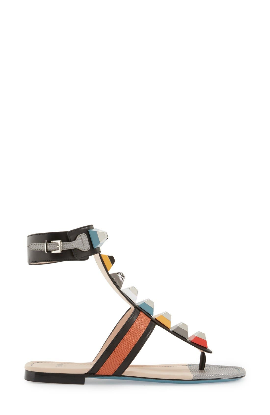 Alternate Image 4  - Fendi 'Rainbow' Studded Colorblock Gladiator Sandal (Women)