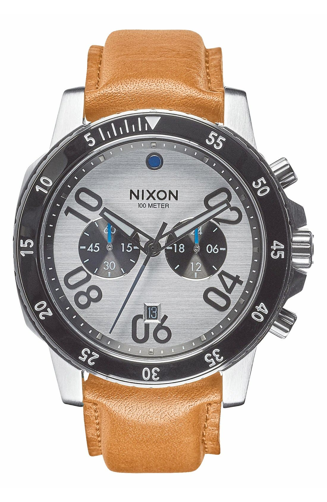 'The Ranger' Chronograph Leather Strap Watch, 44mm,                         Main,                         color, Saddle/ White