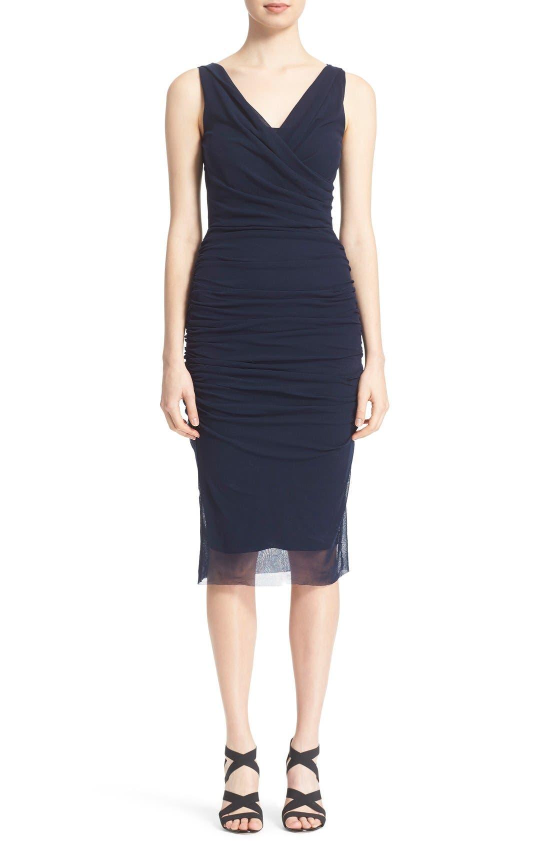 Main Image - Fuzzi Ruched Tulle Mesh Dress