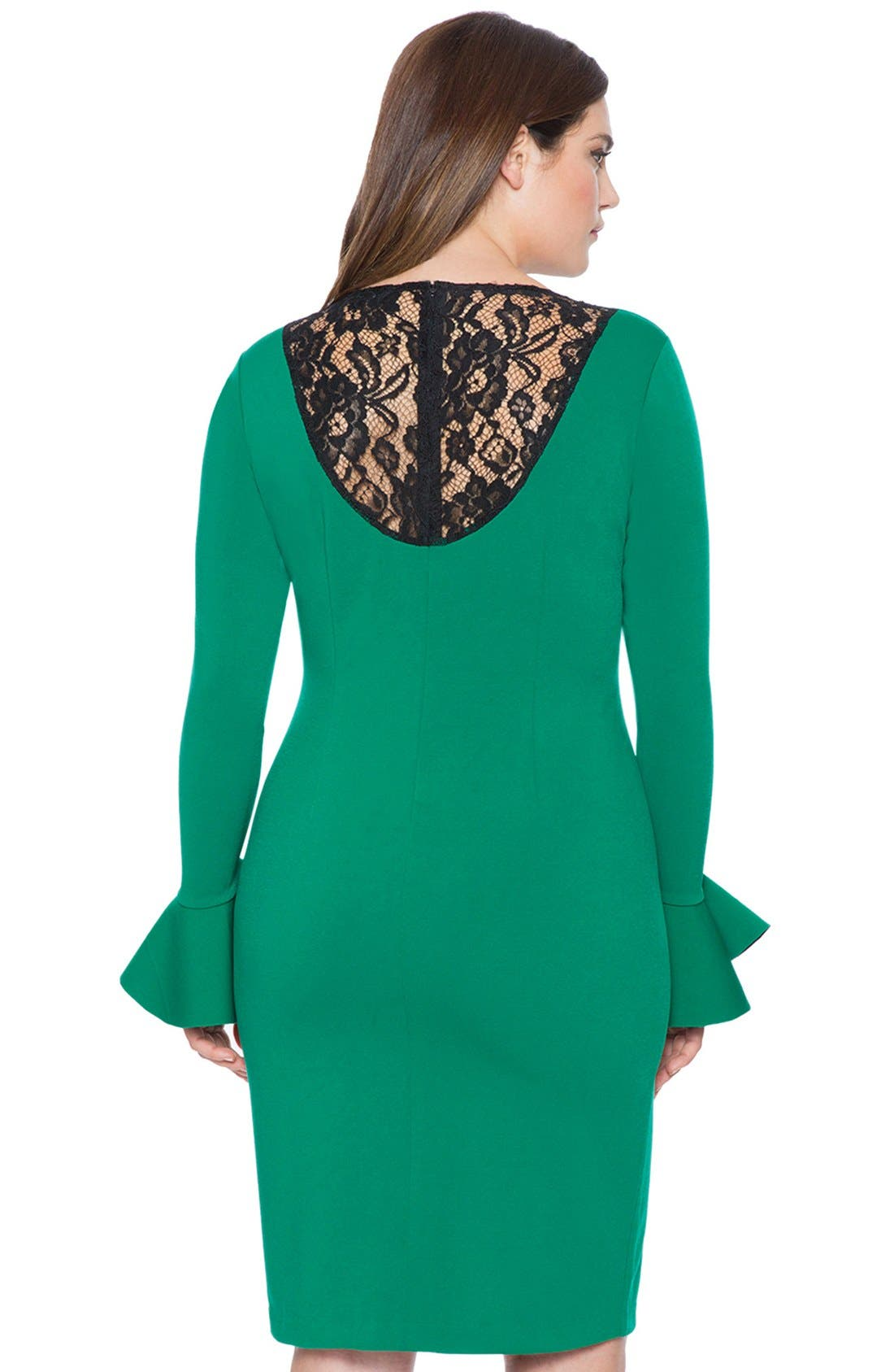 Alternate Image 2  - ELOQUII Lace Inset Flounce Cuff Body-Con Dress (Plus Size)