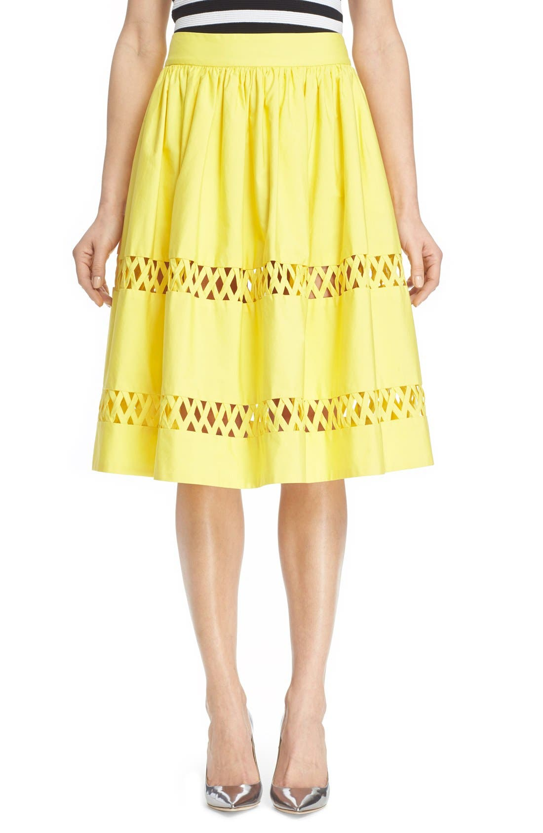 Main Image - Alice + Olivia 'Morina' Lattice Trim Cotton Skirt