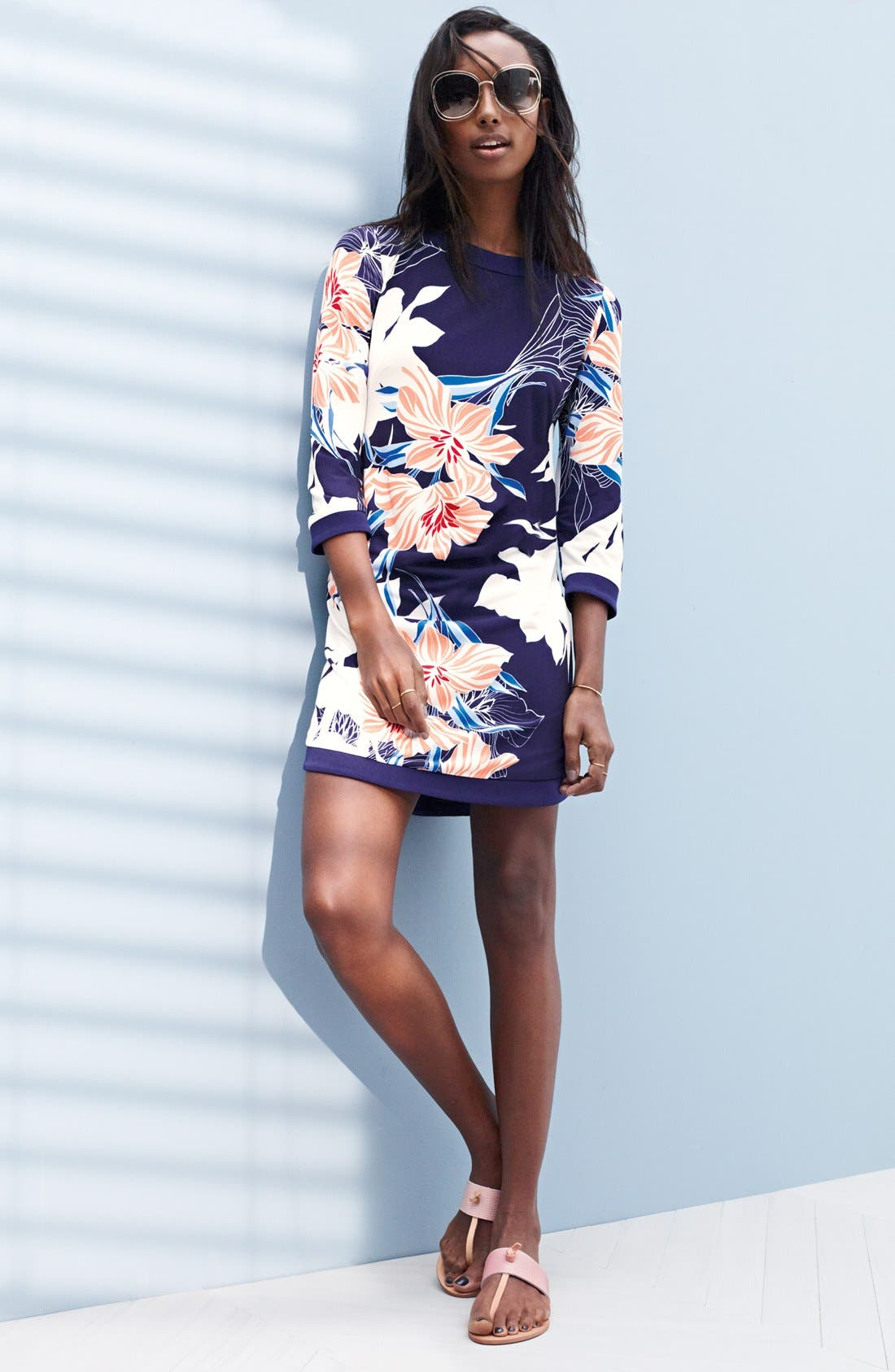 Floral Jersey Shift Dress,                             Alternate thumbnail 6, color,
