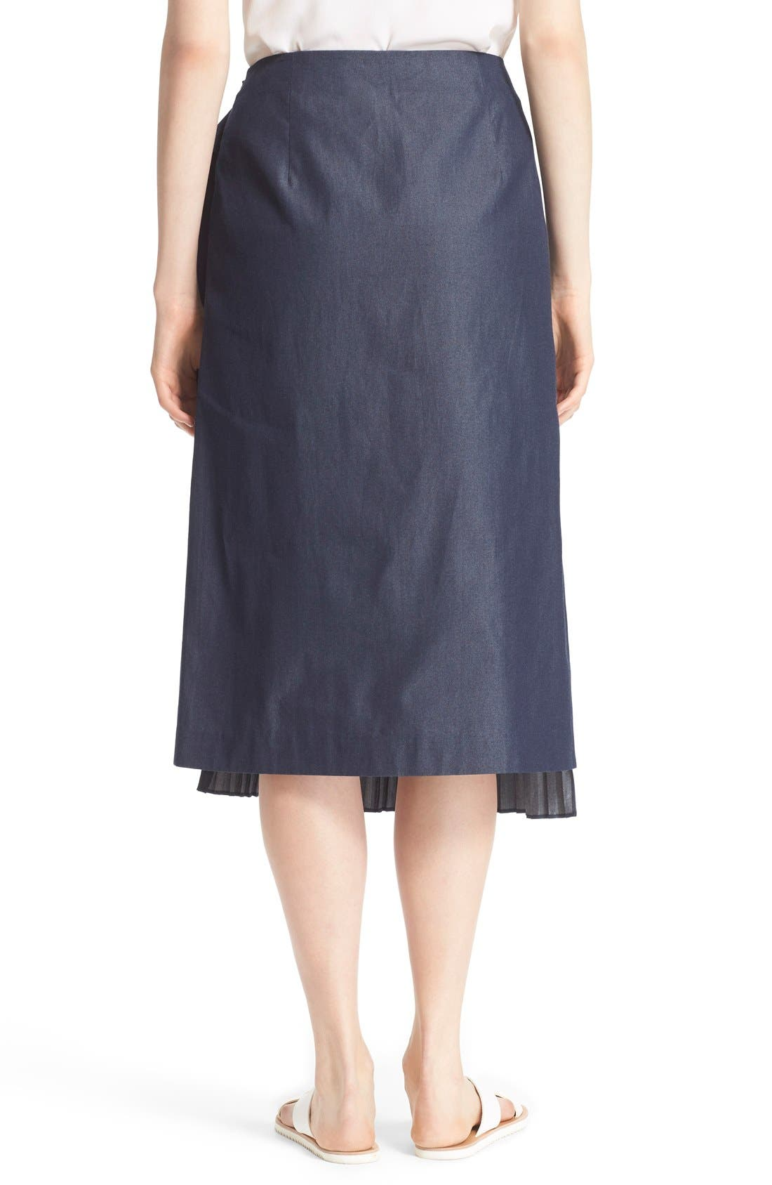 'Manuela' Pleated Cotton Midi Skirt,                             Alternate thumbnail 2, color,                             Steel Denim
