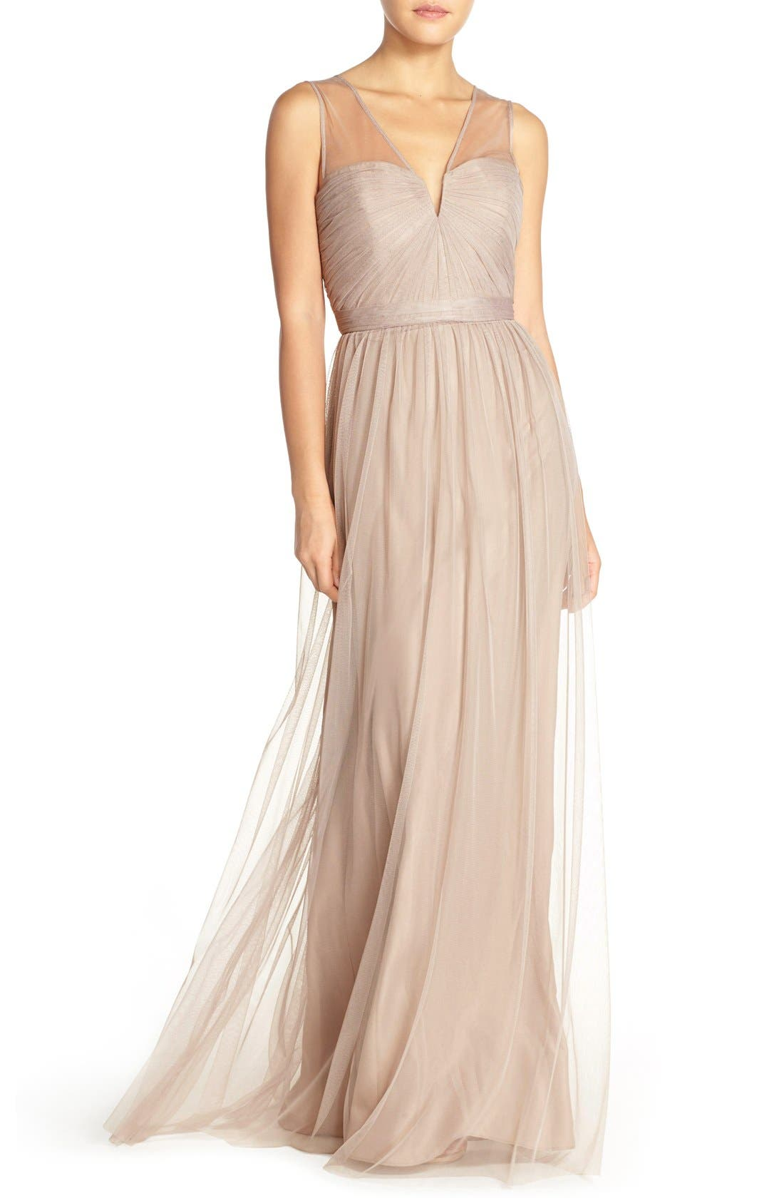 'Alyce' Illusion V-Neck Pleat Tulle Gown,                         Main,                         color, Latte