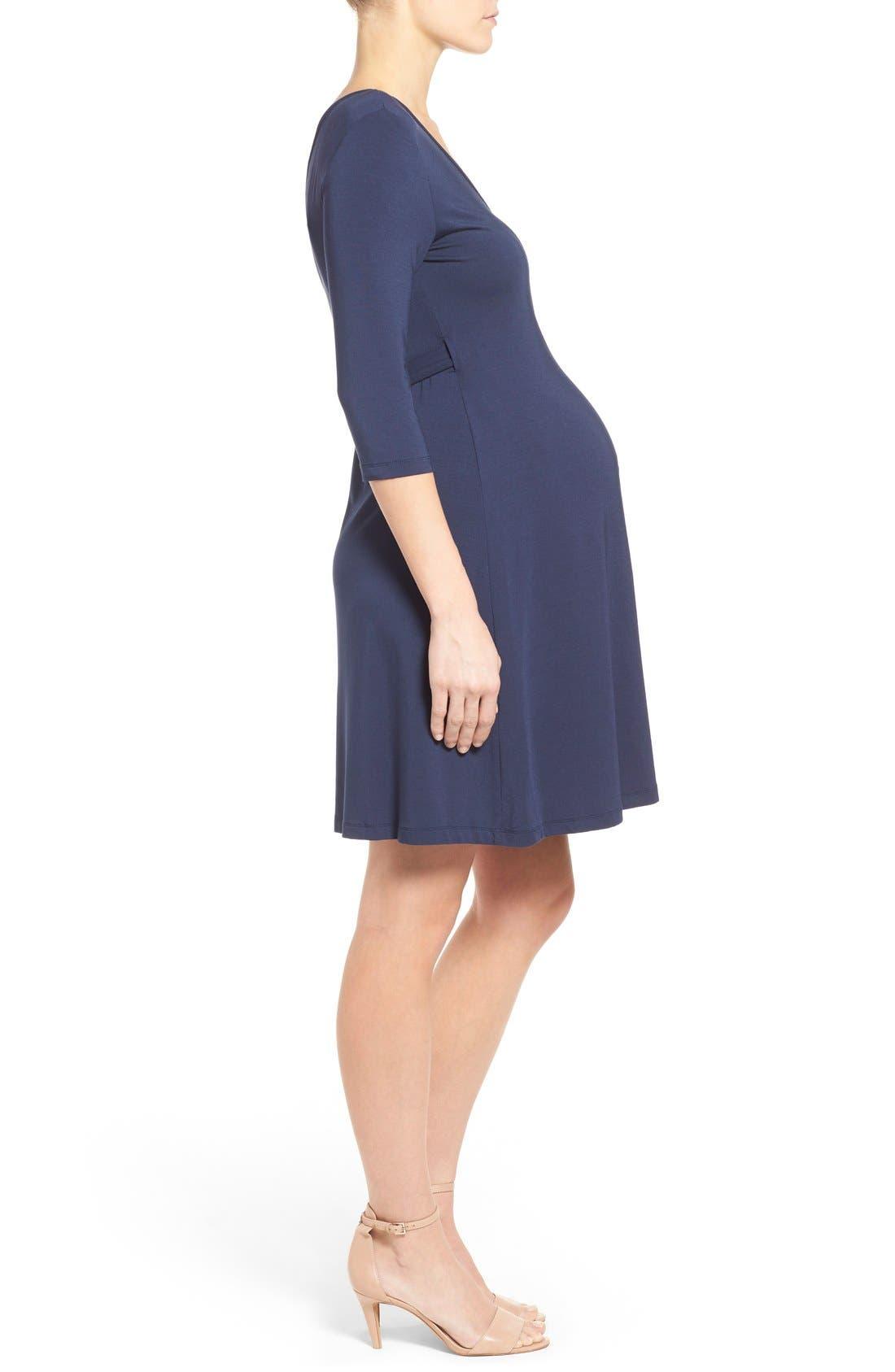 'Rhiannon' Turtleneck Fit & Flare Maternity Dress,                             Alternate thumbnail 3, color,                             Peacoat