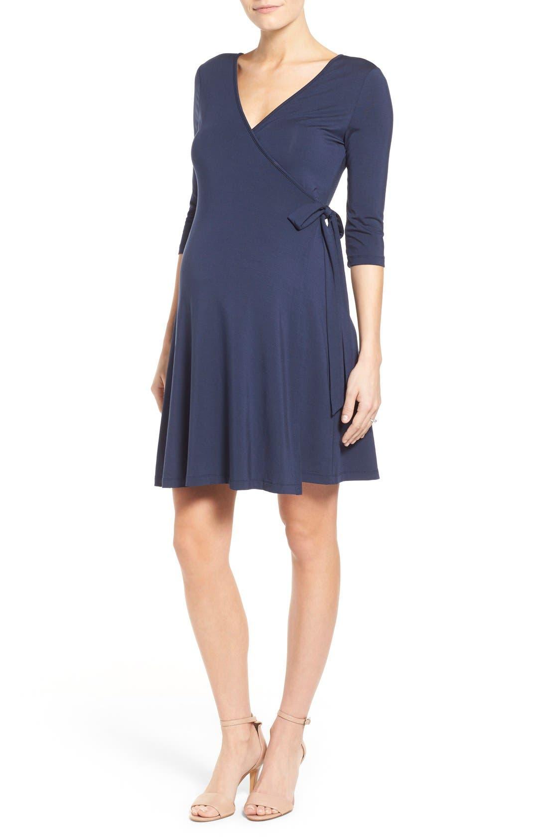'Rhiannon' Turtleneck Fit & Flare Maternity Dress,                             Main thumbnail 1, color,                             Peacoat