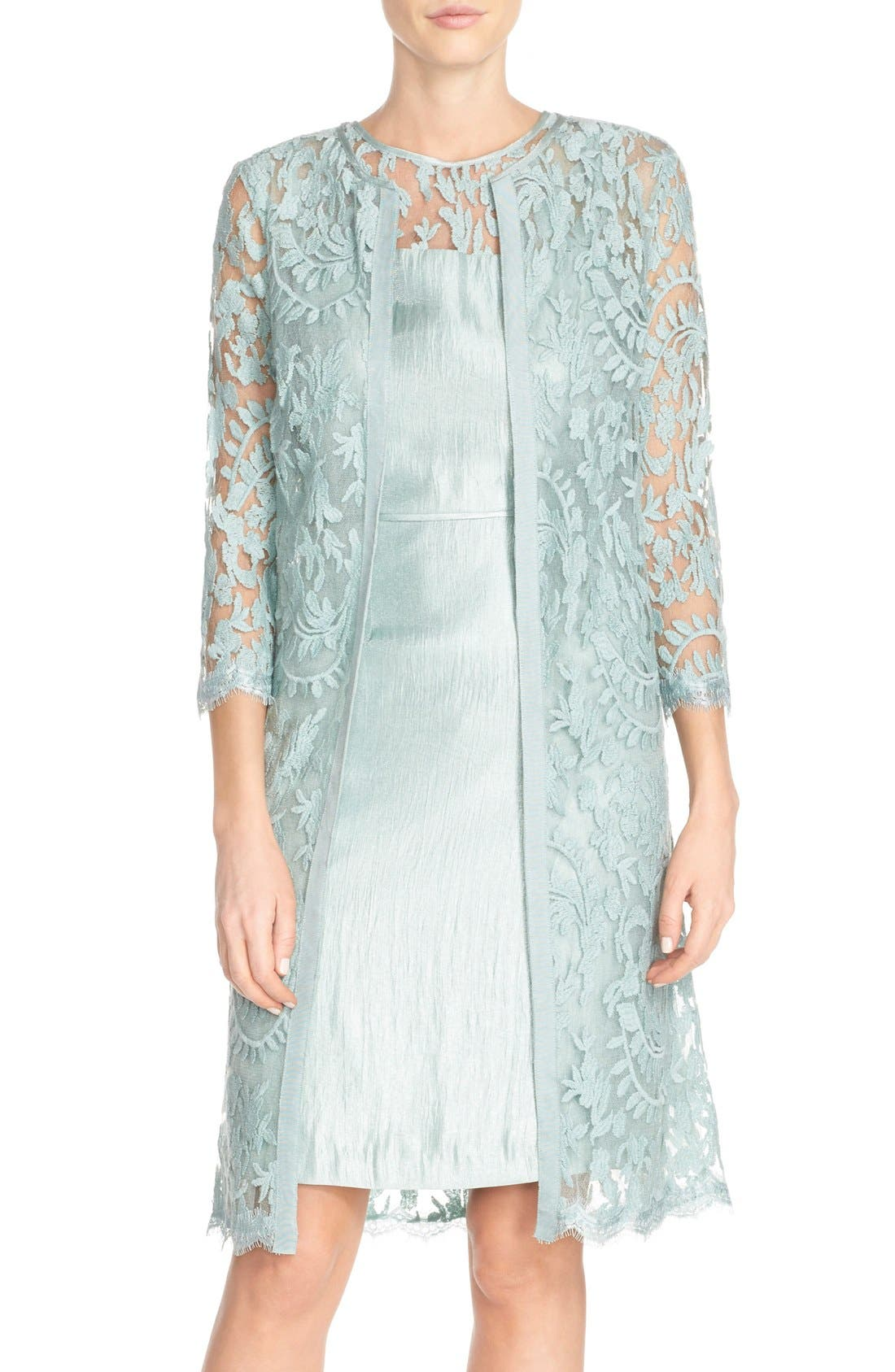 Embroidered Lace Illusion Yoke Sheath Dress &Topper,                         Main,                         color, Icy Mint