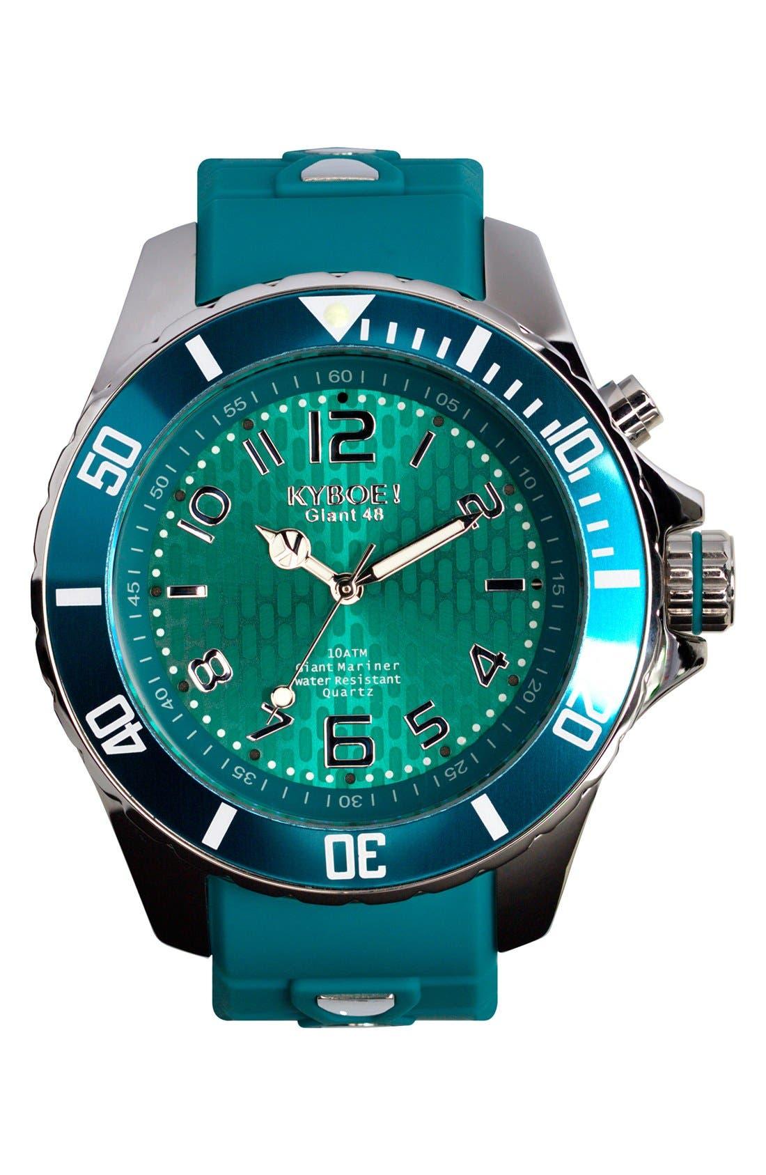 Silicone Strap Watch, 48mm,                             Main thumbnail 1, color,                             Tile Blue/ Tile Blue