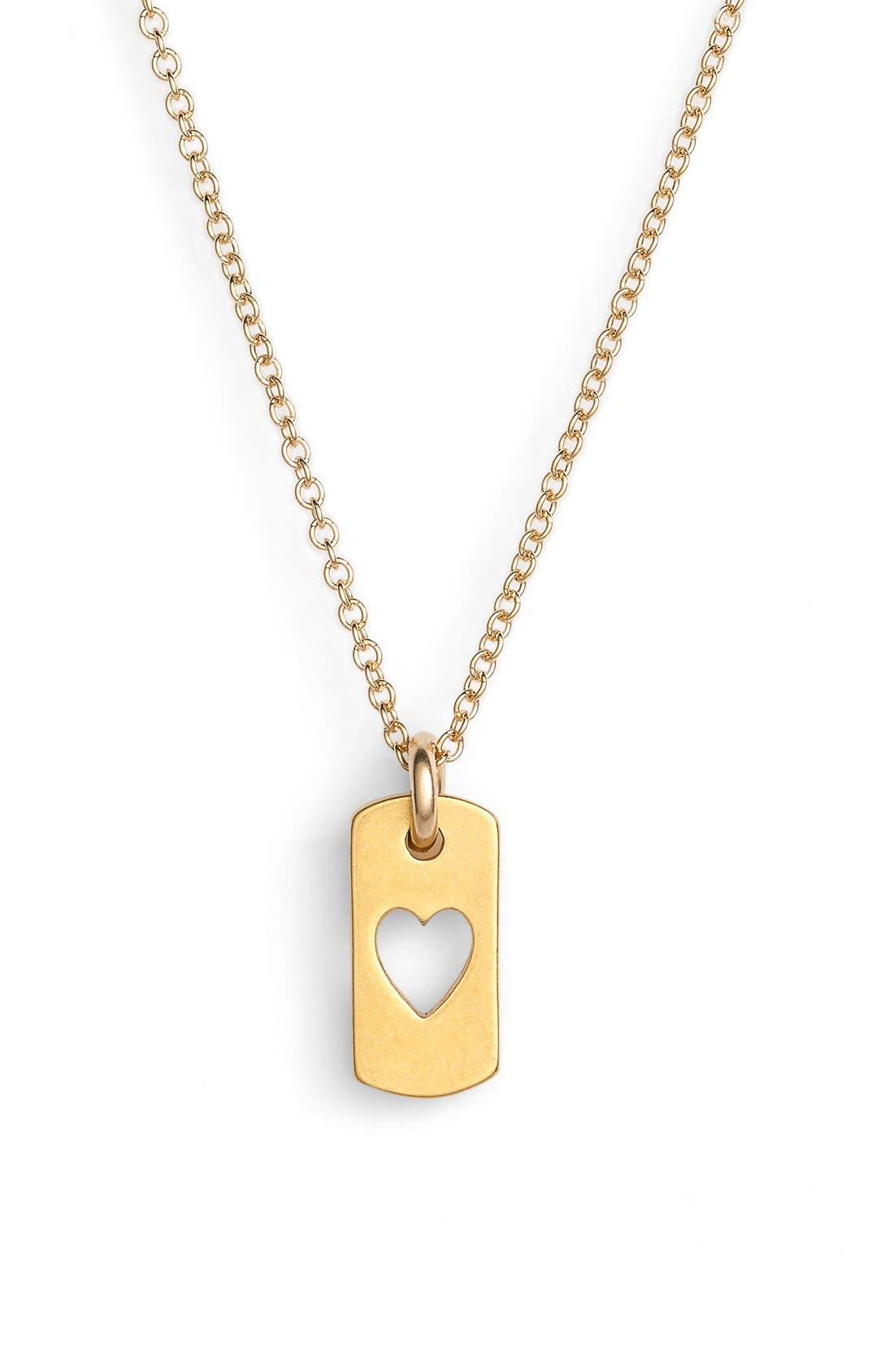Heart Dog Tag Pendant Necklace,                             Alternate thumbnail 2, color,                             Gold