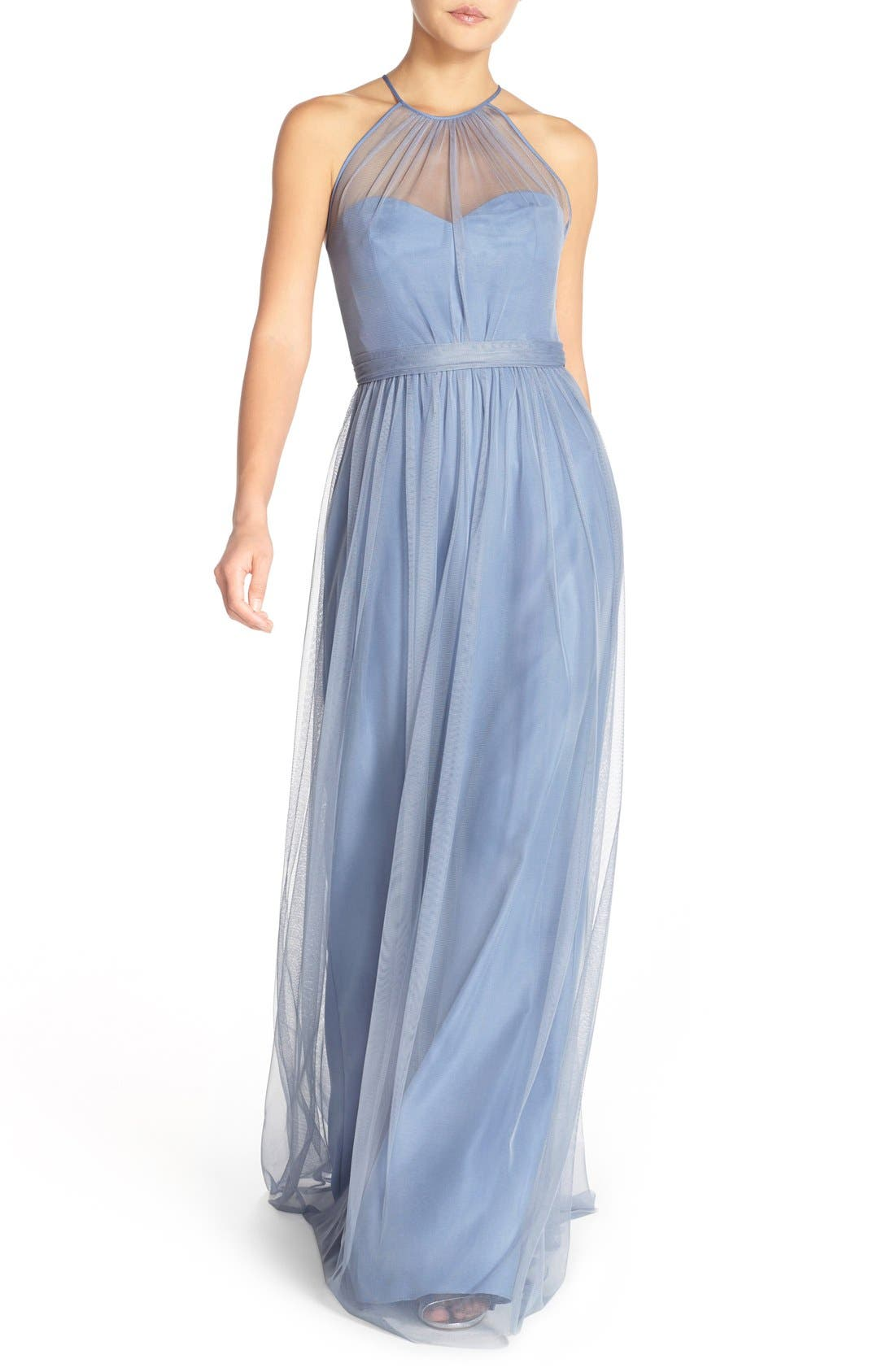 Main Image - Amsale 'Aliki' Illusion Yoke Tulle Halter Gown