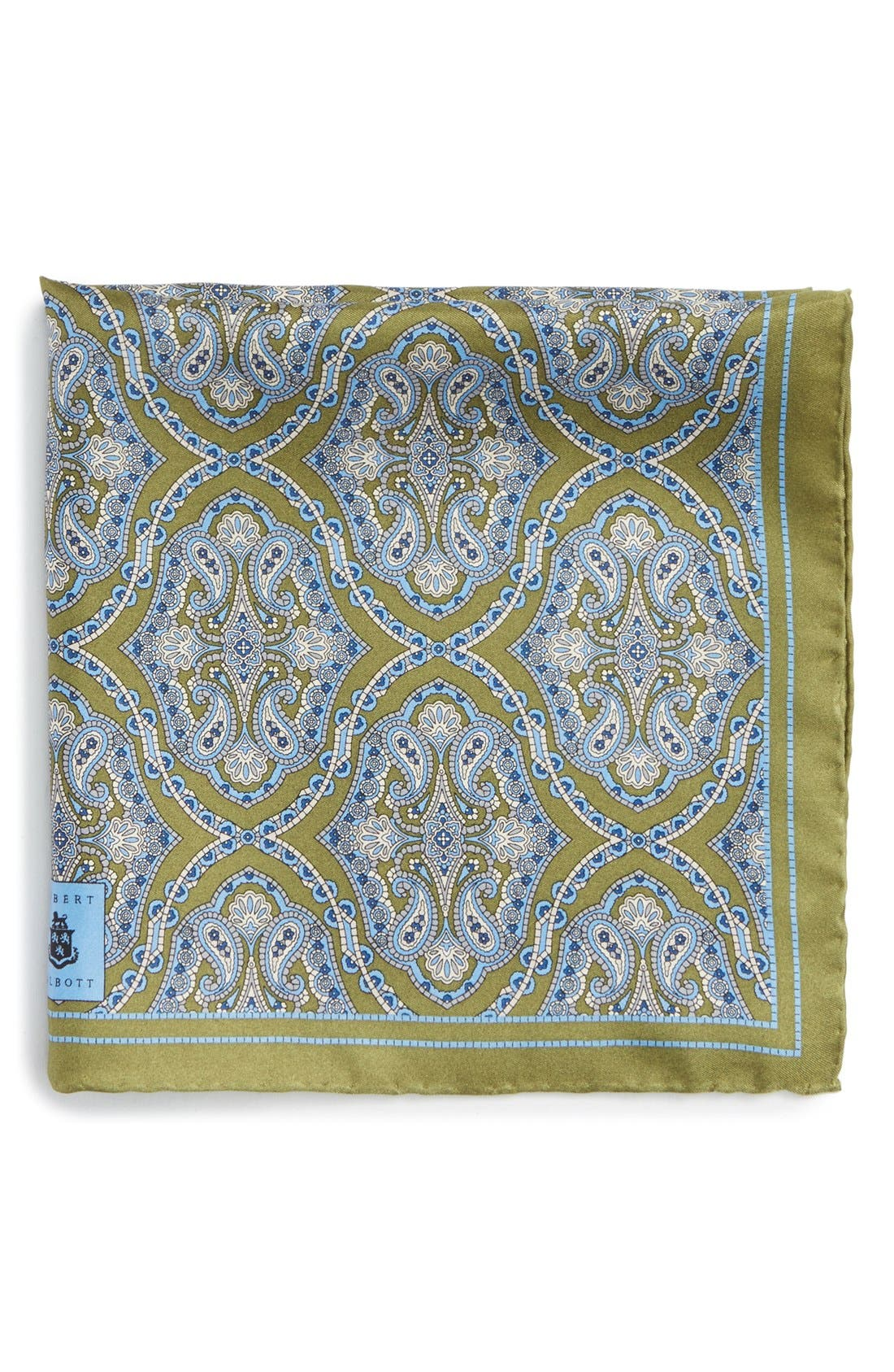 Medallion Silk Pocket Square,                             Main thumbnail 1, color,                             Green