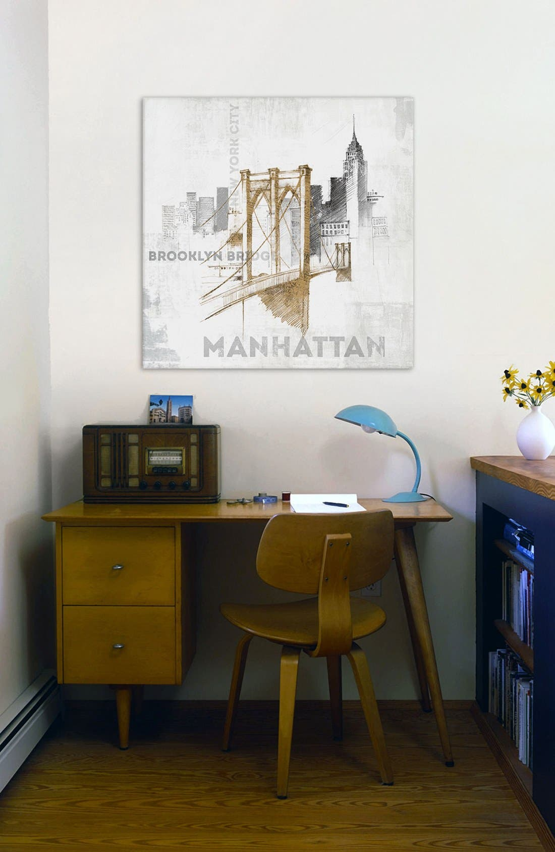 'Brooklyn Bridge' Giclée Print Canvas Art,                             Alternate thumbnail 2, color,                             White
