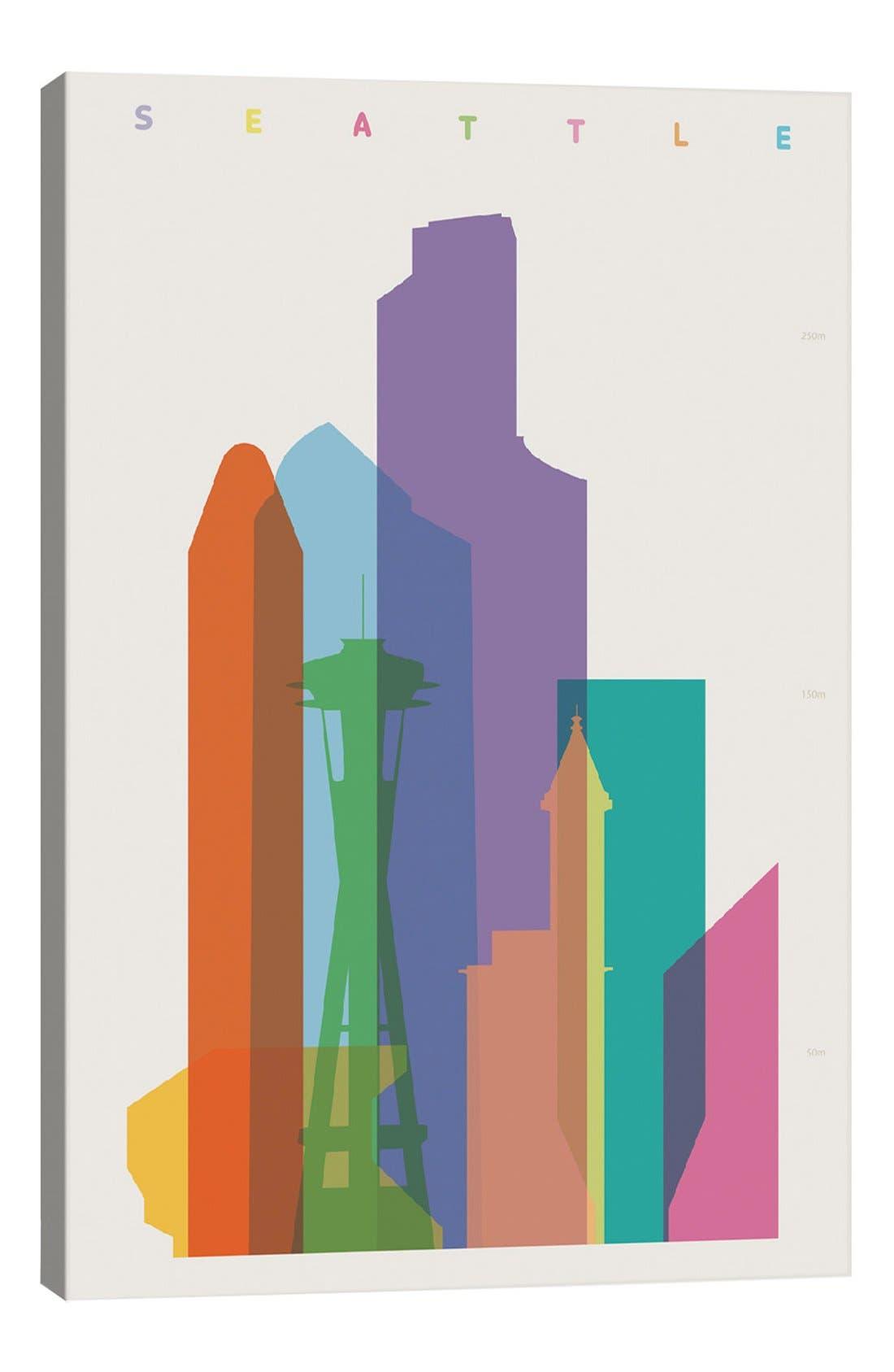 'Seattle' Giclée Print Canvas Art,                         Main,                         color, White