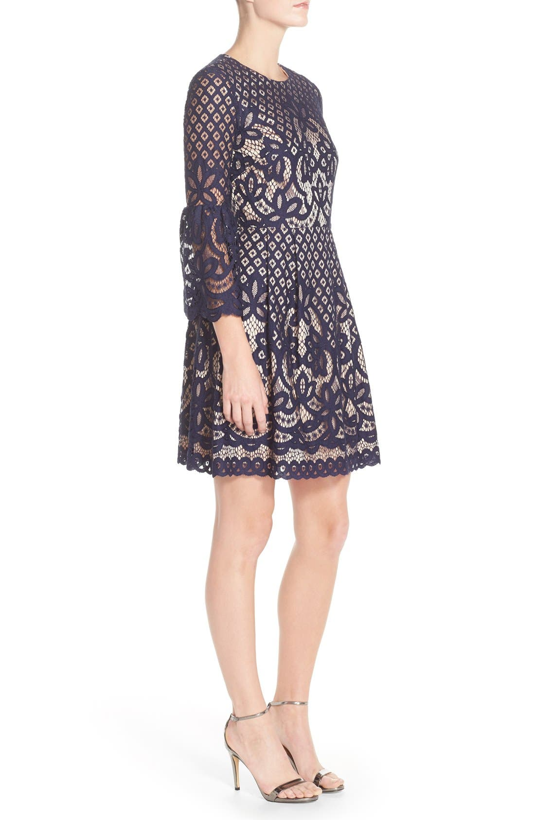 Bell Sleeve Fit & Flare Dress,                             Alternate thumbnail 3, color,                             Navy