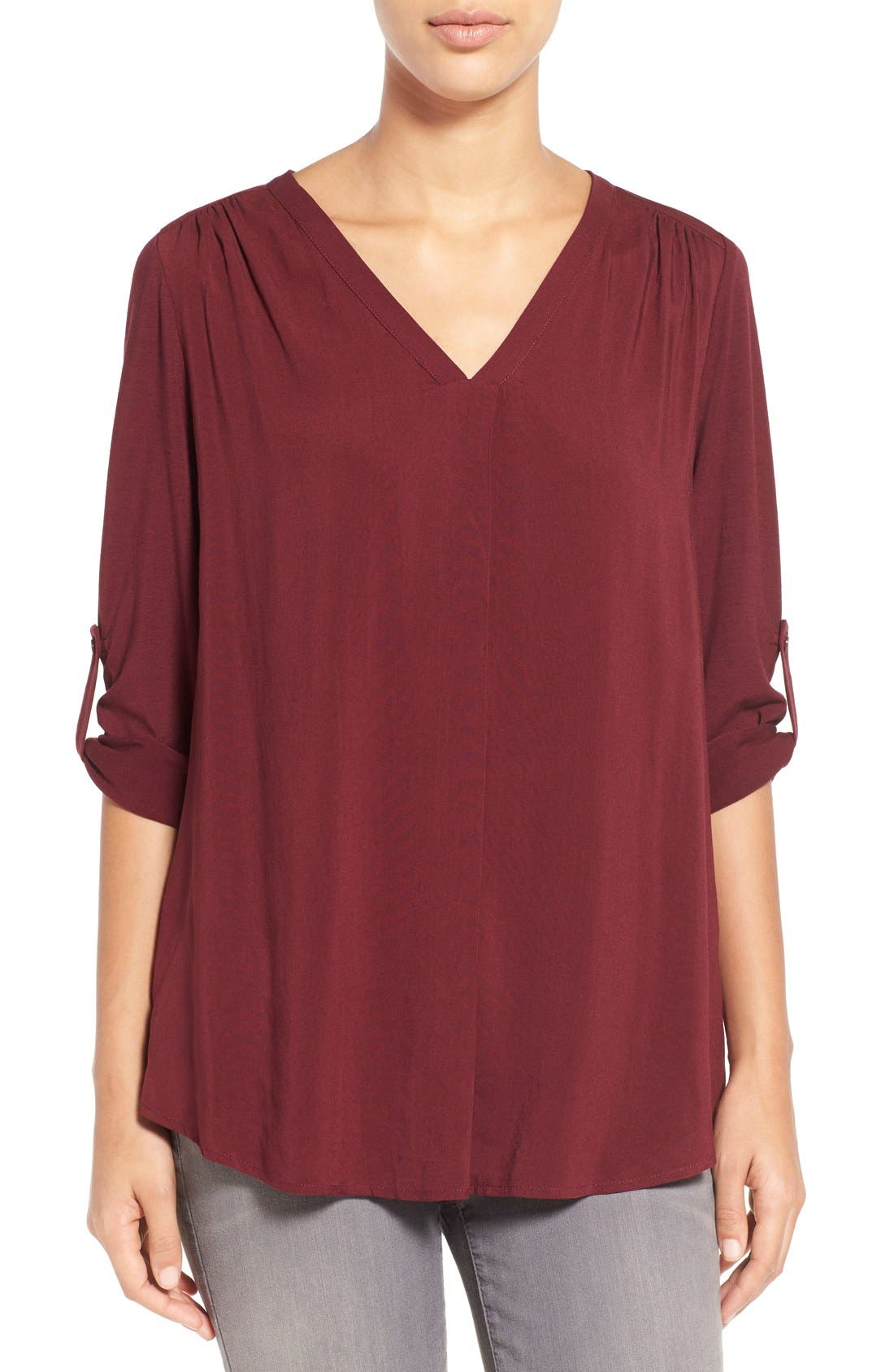 Alternate Image 1 Selected - Pleione Mixed Media V-Neck Tunic (Regular & Petite) (Nordstrom Exclusive)