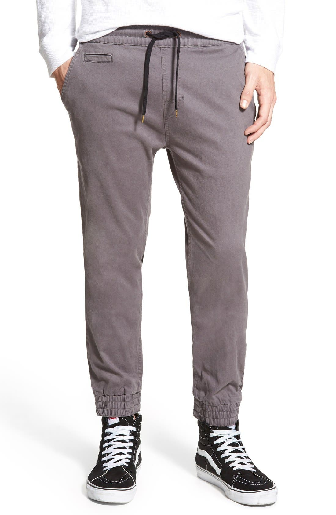 'Denny' Woven Jogger Pants,                             Main thumbnail 1, color,                             Charcoal