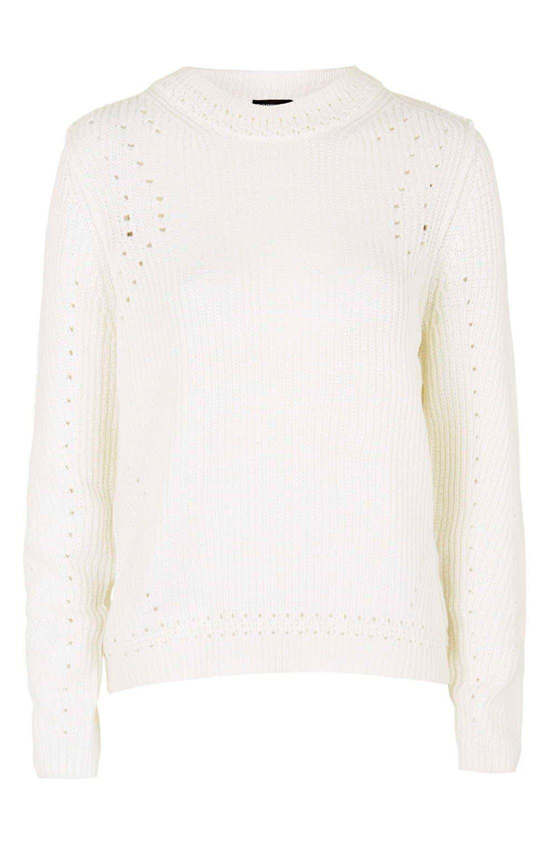 Alternate Image 4  - Topshop Pointelle Ribbed Crewneck Sweater