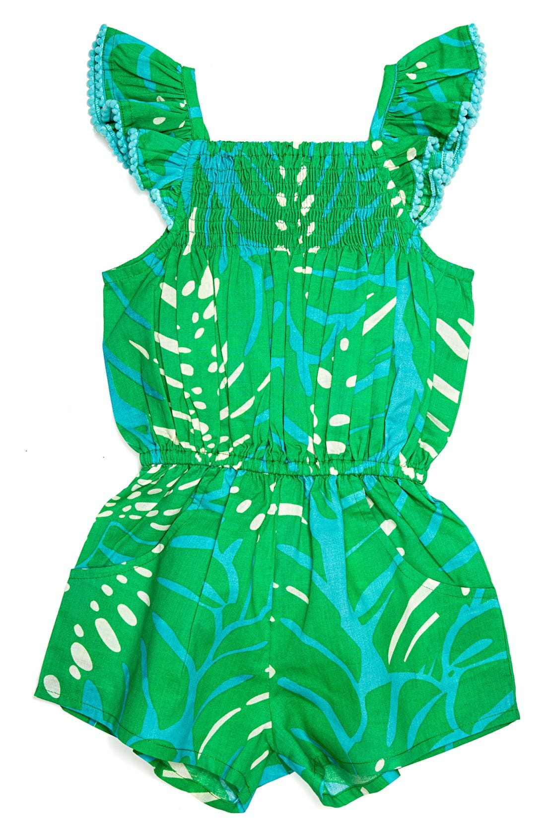 Alternate Image 1 Selected - Masalababy 'Zuri - Island Palm' Flutter Sleeve Romper (Toddler Girls, Little Girls & Big Girls)