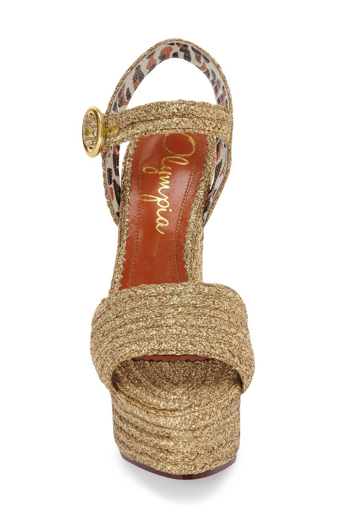 'Karen' Platform Wedge Sandal,                             Alternate thumbnail 3, color,                             Gold Raffia