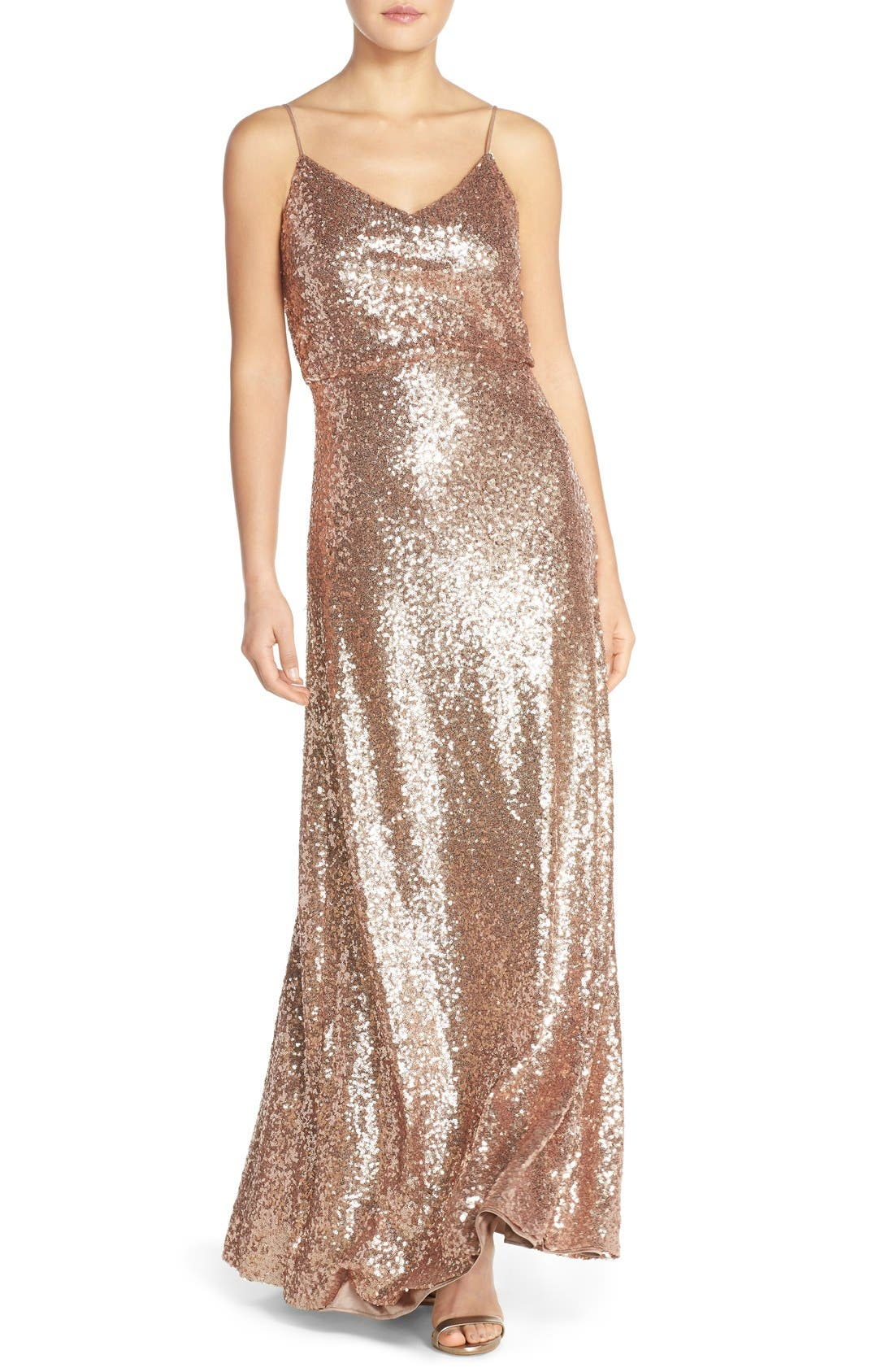 Jules Sequin Blouson Gown with Detachable Back Cowl,                         Main,                         color, Rose Gold