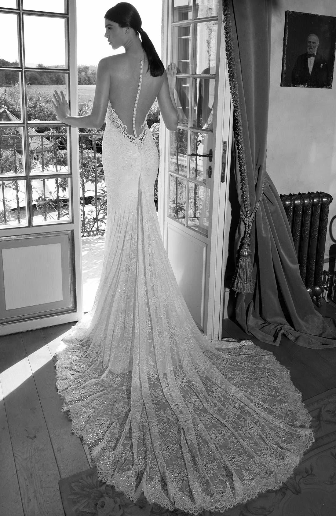 Plunging V-Neck Strapless Lace Dress,                             Alternate thumbnail 2, color,                             Ivory