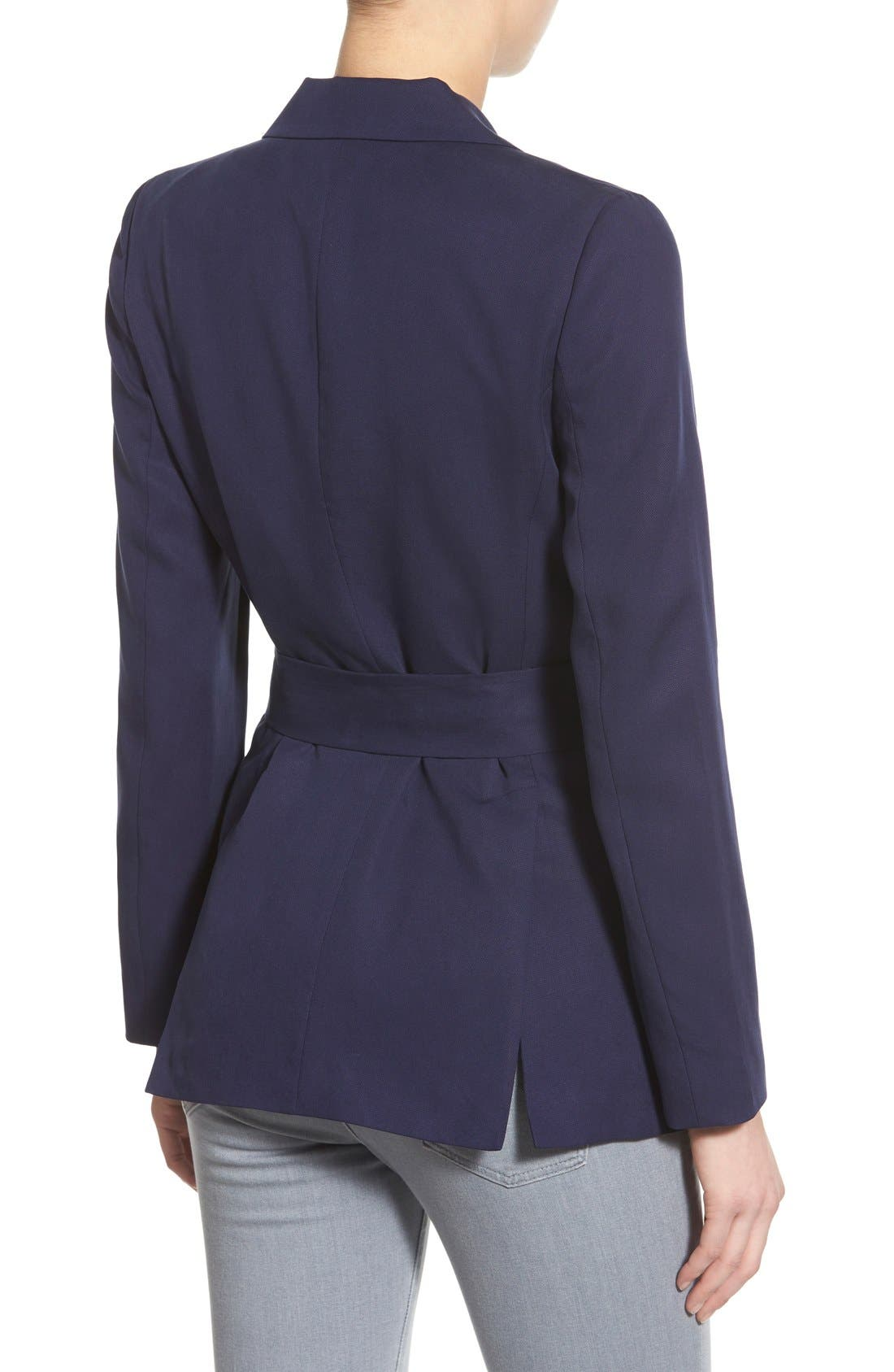 Belted Double Breasted Blazer,                             Alternate thumbnail 2, color,                             Evening Navy