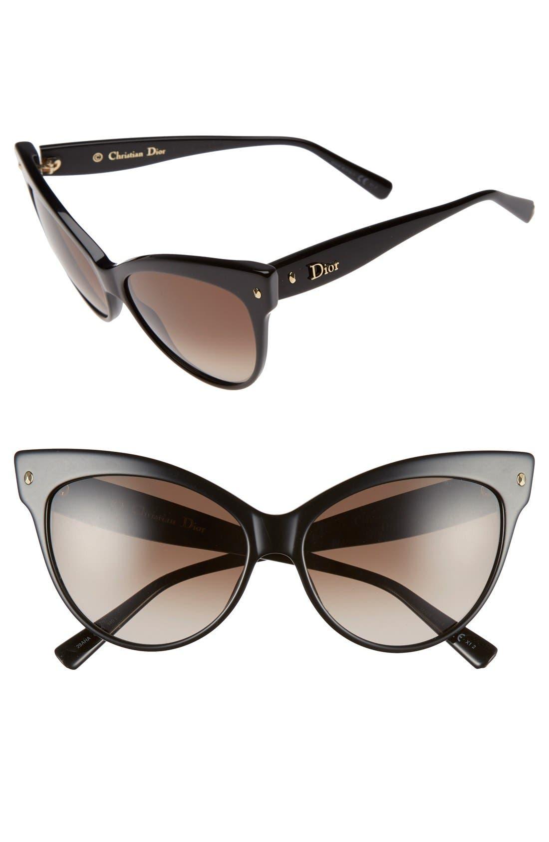 'Mohotani' 58mm Cat Eye Sunglasses,                             Main thumbnail 1, color,                             Black