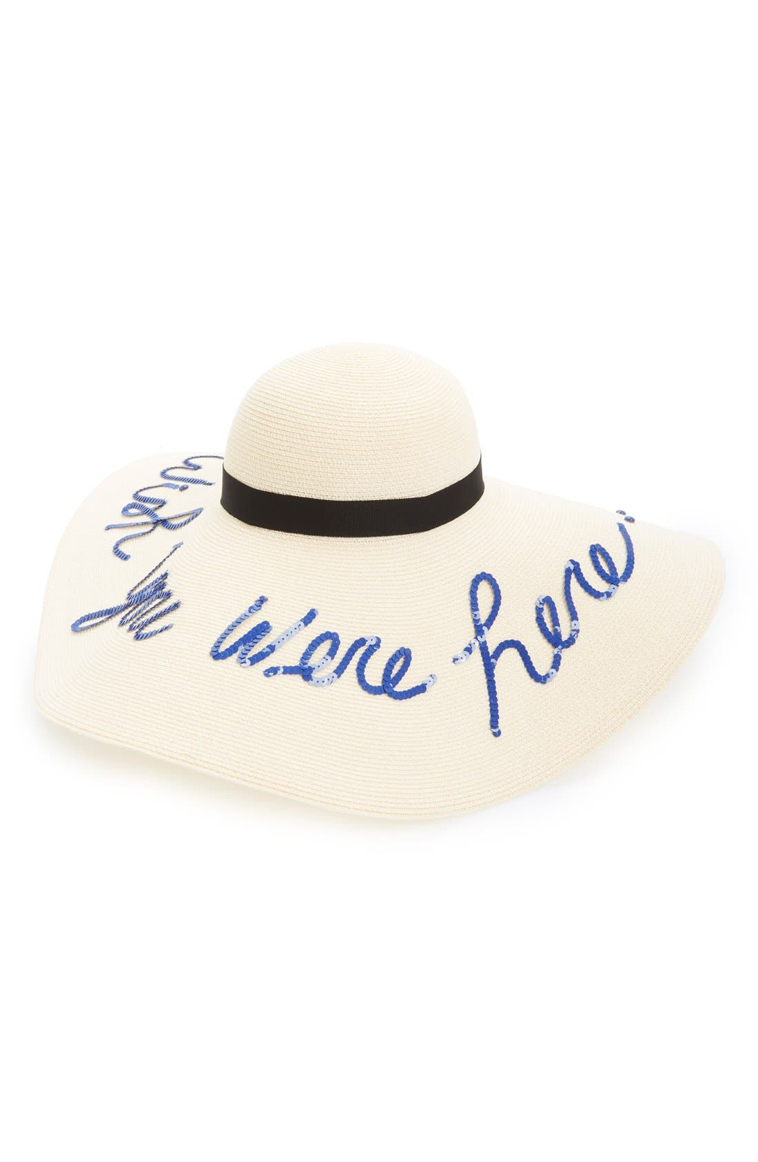 'Sunny - Wish You Were Here' Straw Sun Hat,                         Main,                         color, Ivory