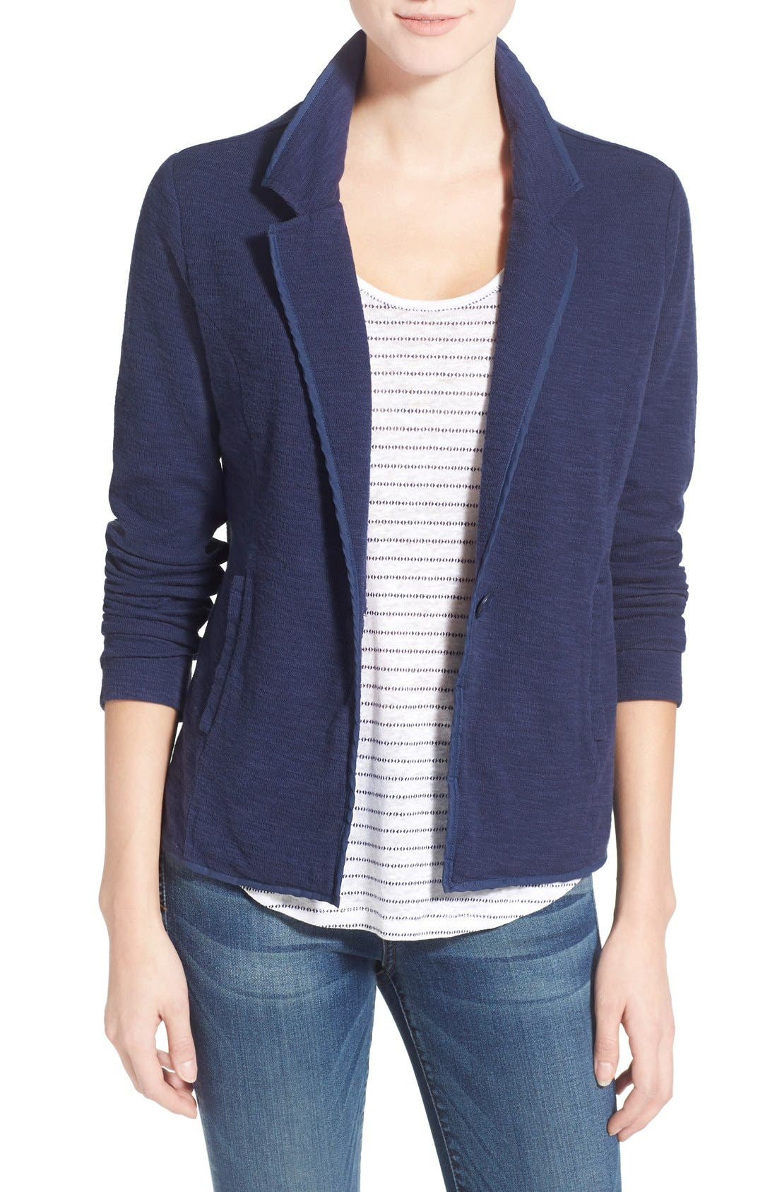 Main Image - Caslon® One-Button Knit Blazer (Regular & Petite)