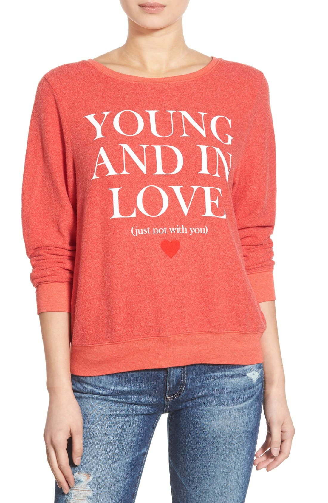 'Baggy Beach Jumper - Not With You' Pullover,                         Main,                         color, Ariel Red