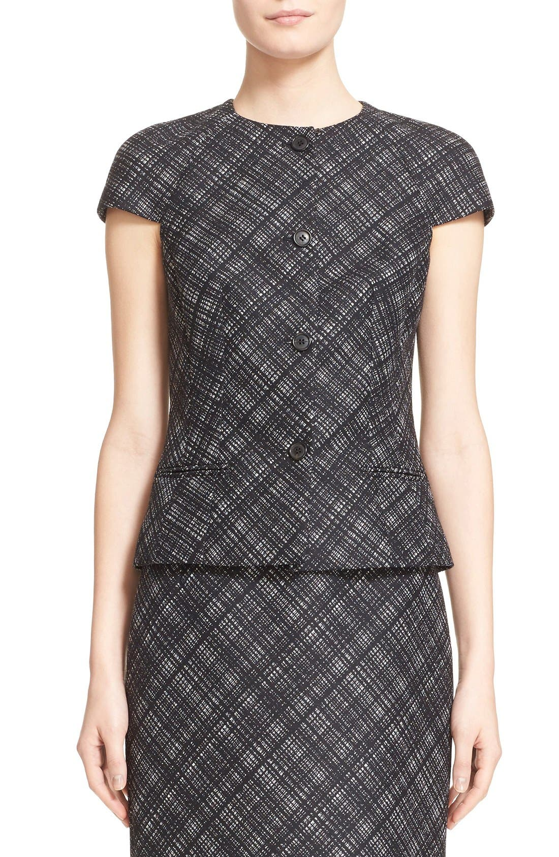 Main Image - Michael Kors Jacquard Plaid Cap Sleeve Wool Jacket