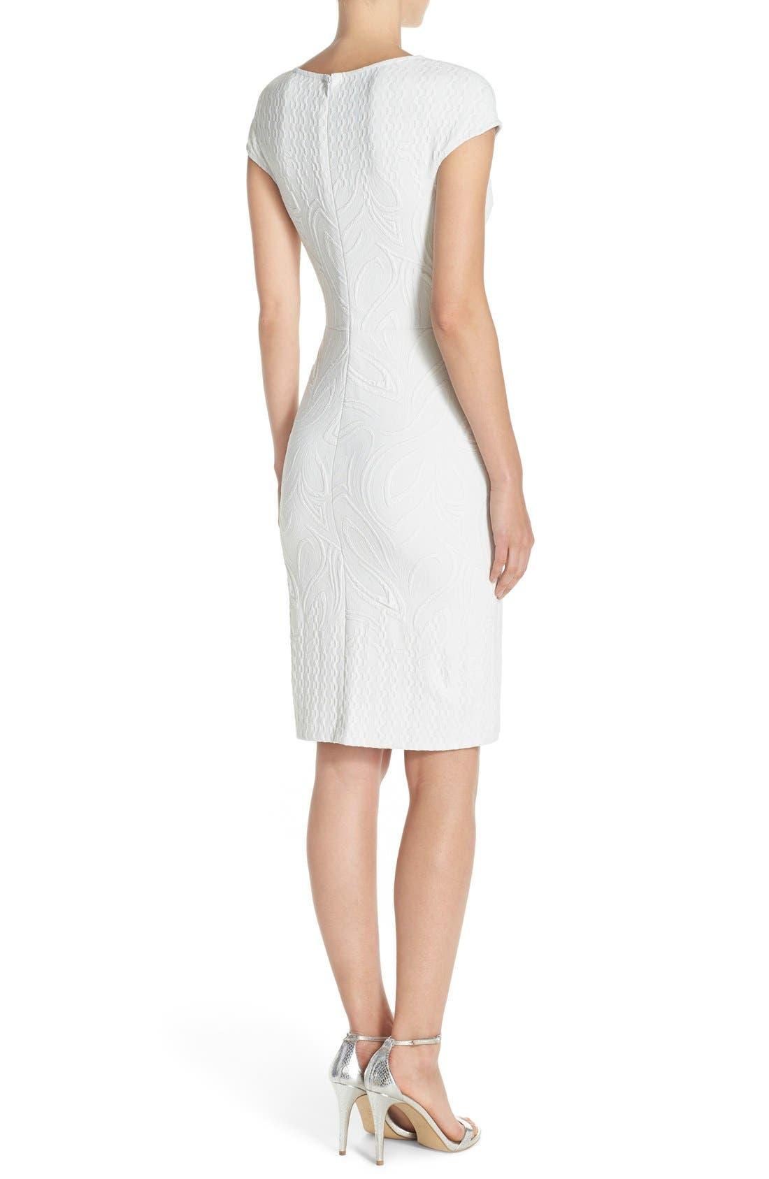 Jacquard Sheath Dress,                             Alternate thumbnail 2, color,                             Ivory