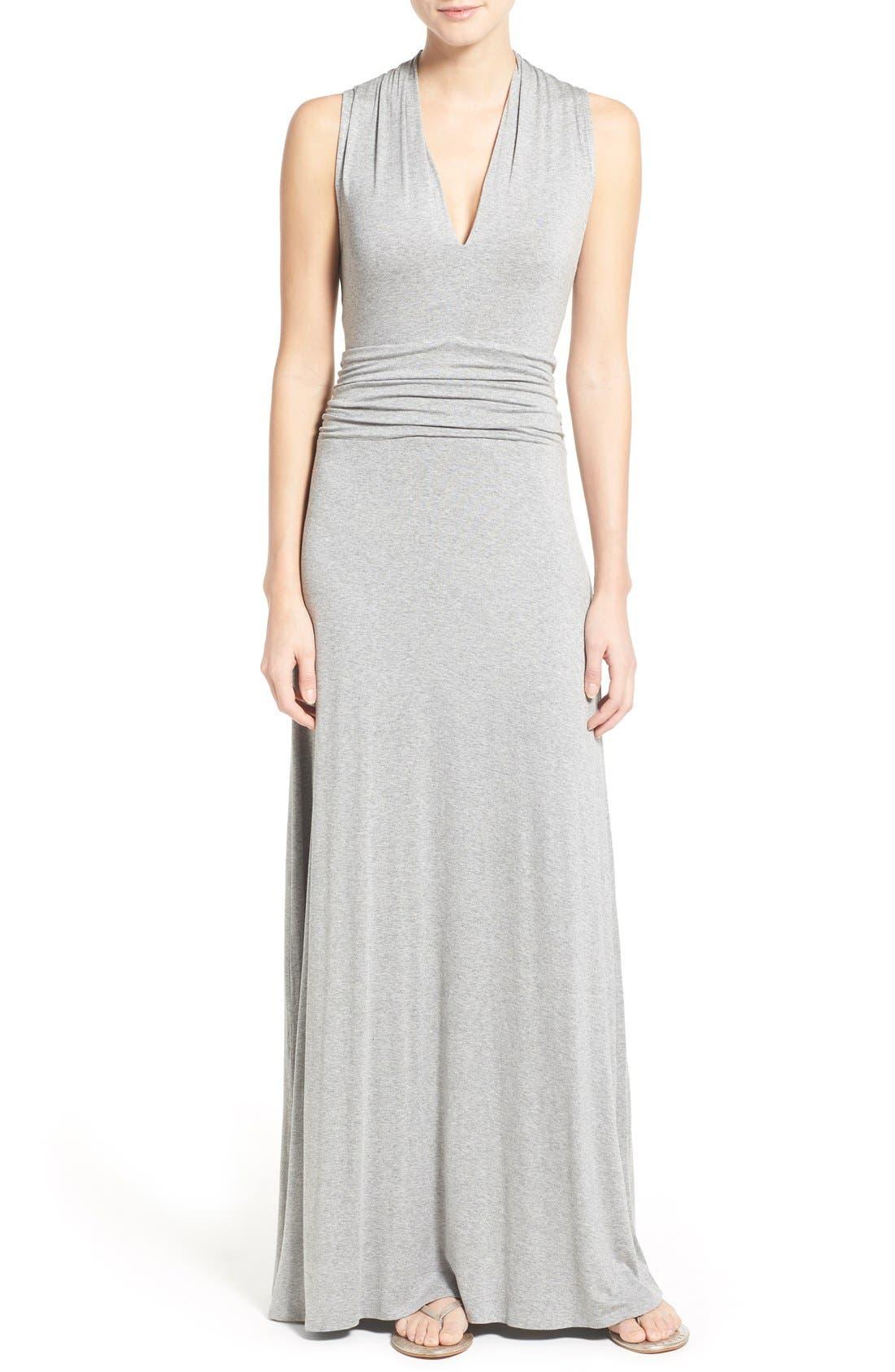 V-Neck Maxi Dress,                         Main,                         color, Light Heather Grey