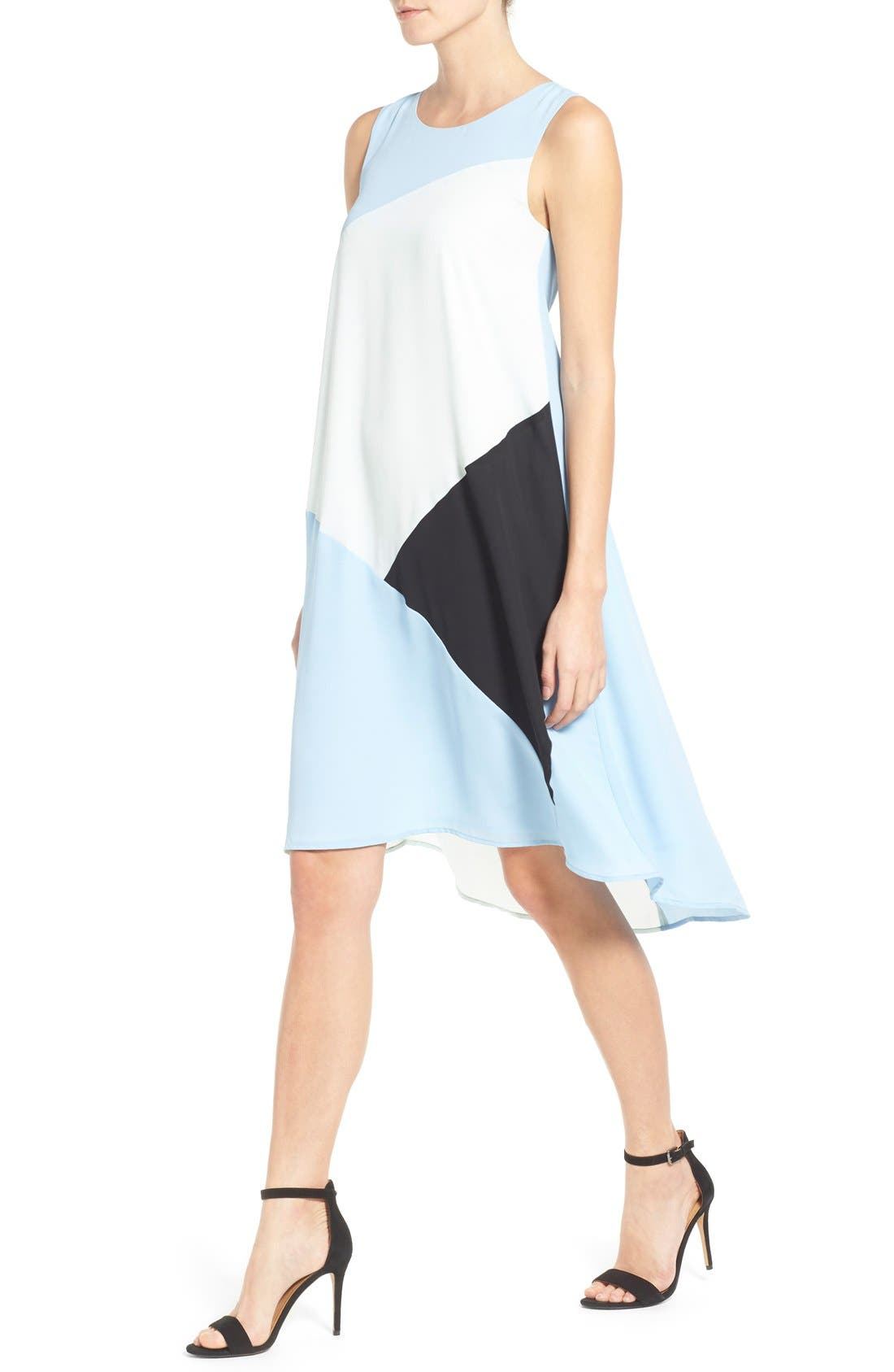 Alternate Image 3  - Vince Camuto Colorblock High/Low Hem Shift Dress (Regular & Petite)