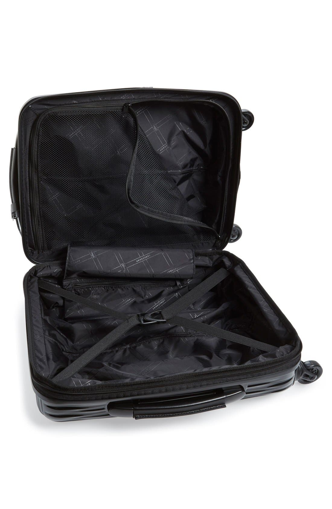 'Fairval' Four-Wheeled Hard Shell Suitcase,                             Alternate thumbnail 4, color,                             Black