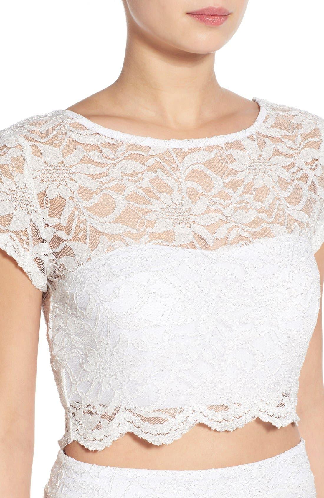 Alternate Image 4  - Speechless Glitter Lace Two-Piece Sheath Dress