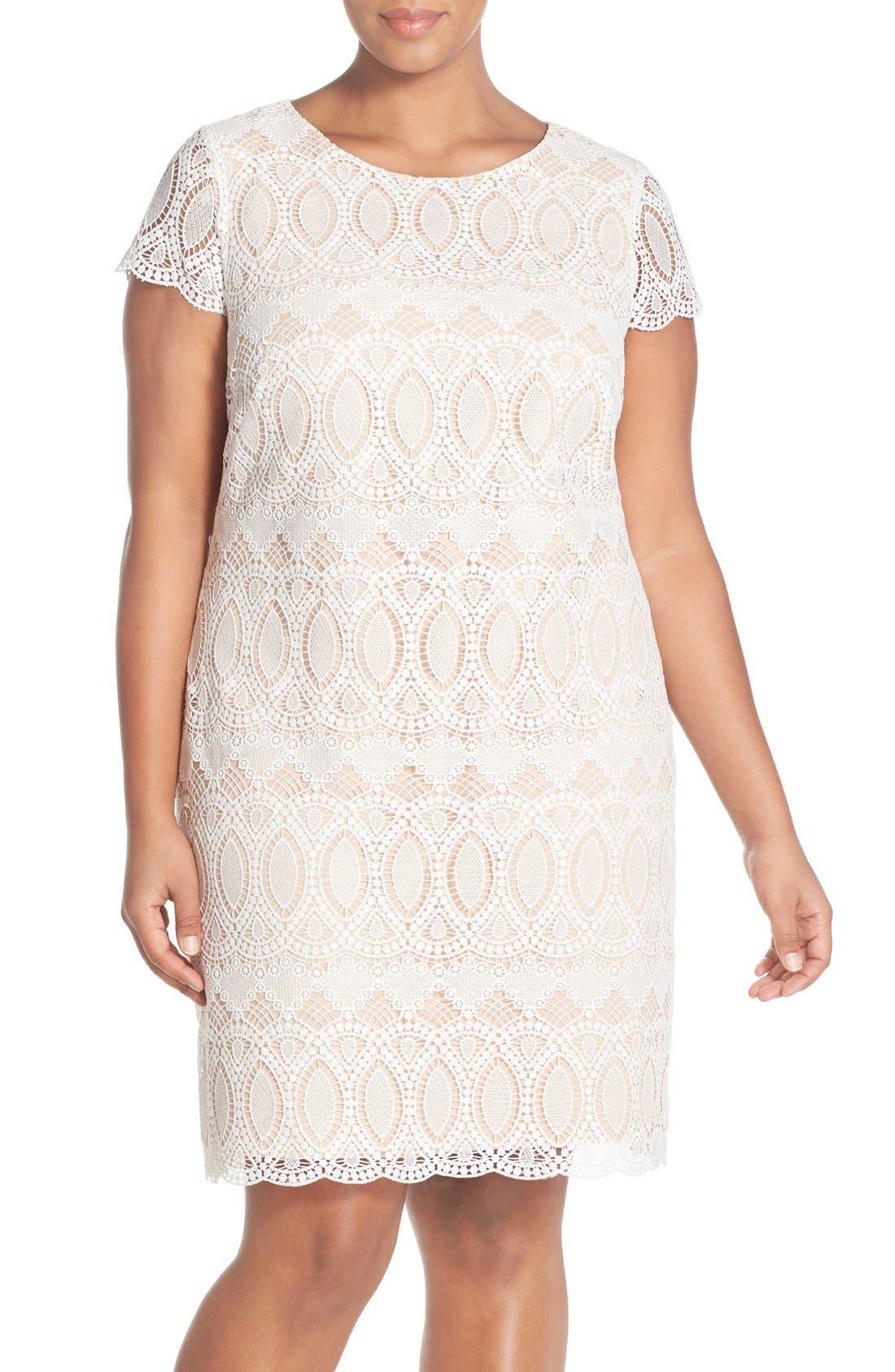Cap Sleeve Lace Shift Dress,                         Main,                         color, Ivory