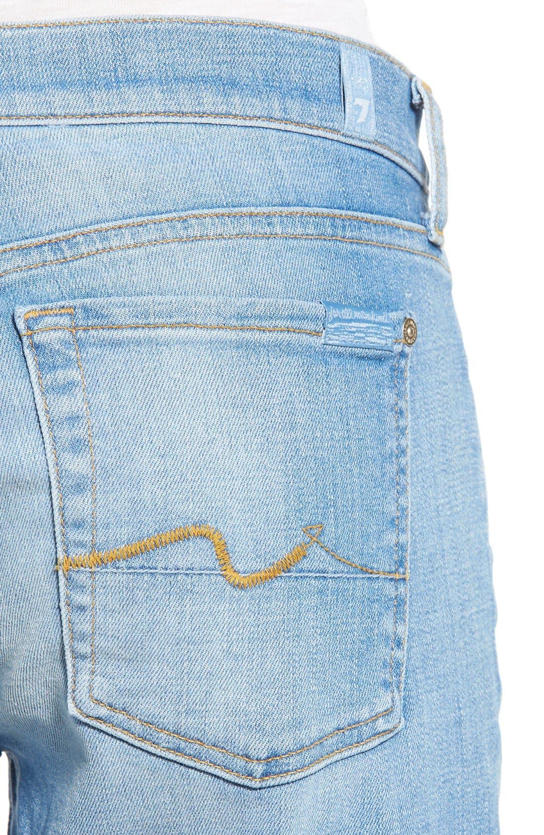 Alternate Image 4  - 7 For All Mankind® 'Josefina' Mid Rise Boyfriend Jeans (Mediterranean Sky)
