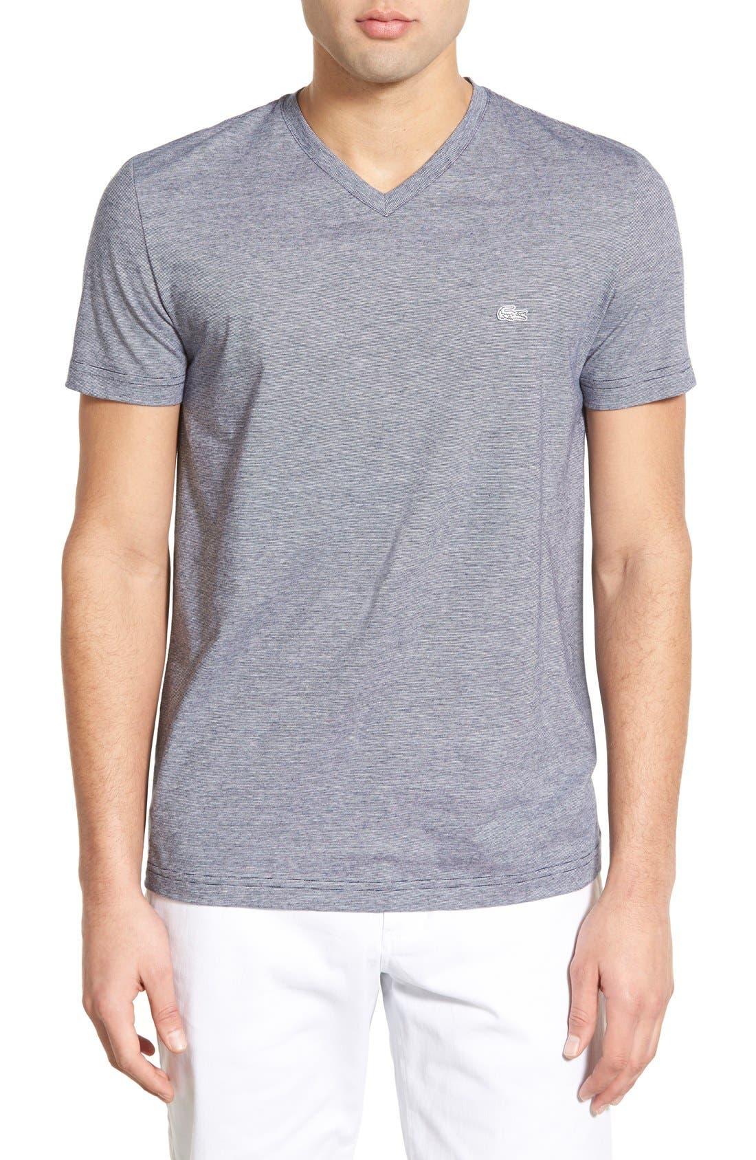 Lacoste Stripe V-Neck T-Shirt